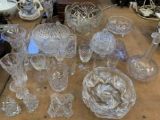 Quantity of cut glassware