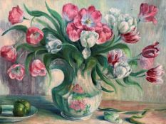 Two oil on canvas paintings of flowers by Fiona Goldbacher.