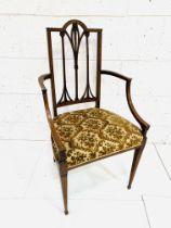 String inlaid Edwardian mahogany elbow chair