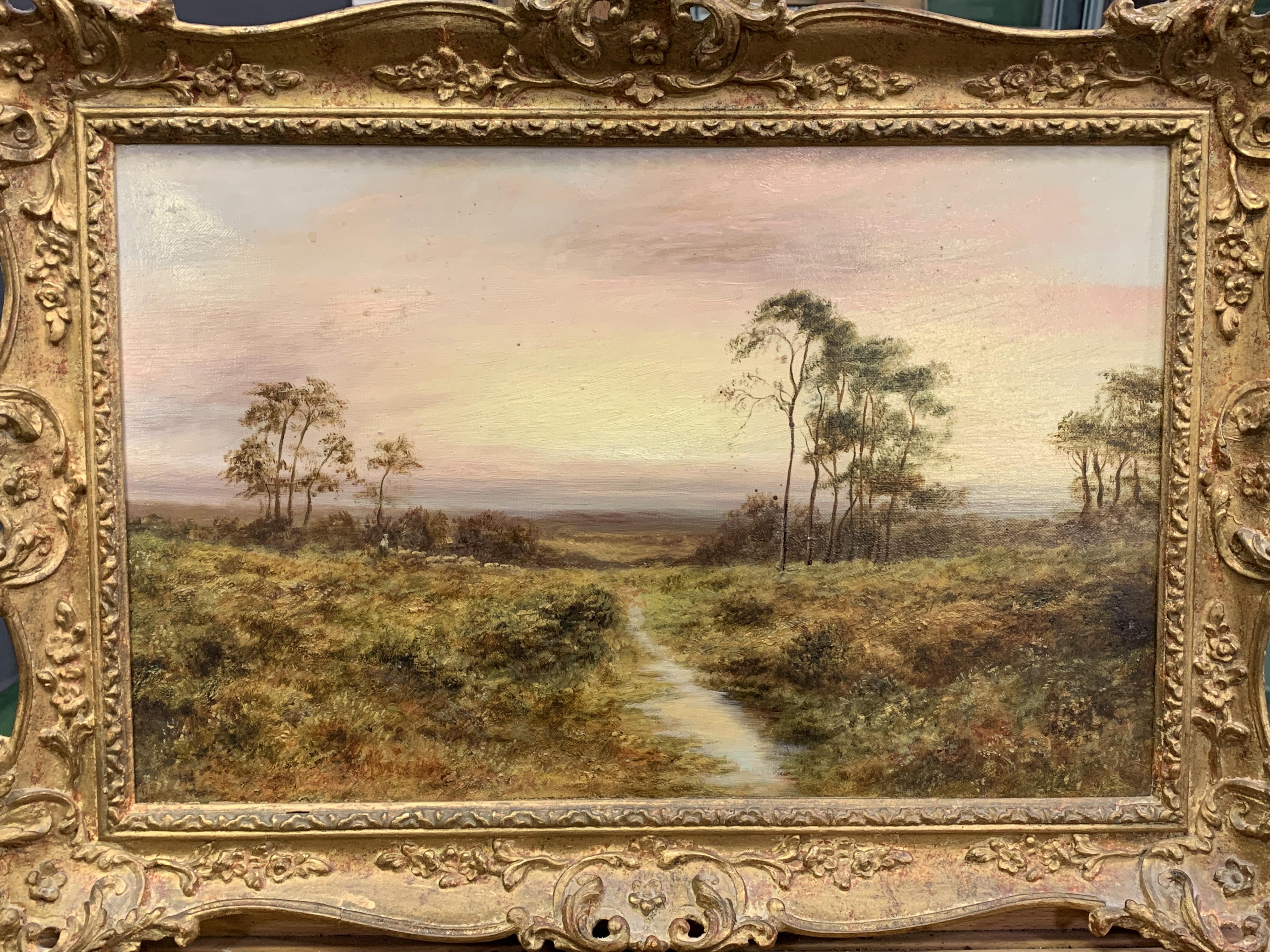 Ornate gilt framed oil on canvas indistinctly signed bottom left, label on reverse E. M .Wimperis