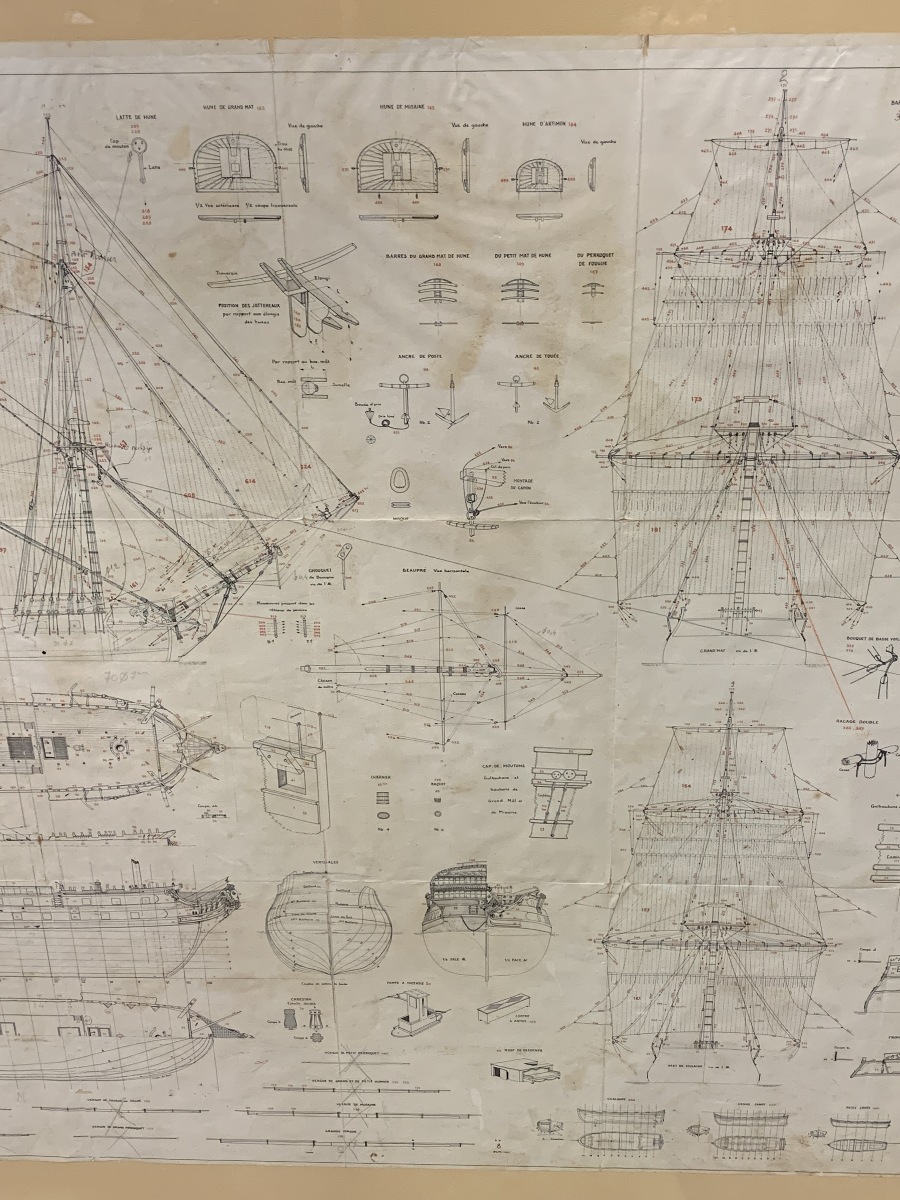 A Musee de La Marie, 1/150 scale plan of the 74 gun warship Le Superbe - Image 3 of 5