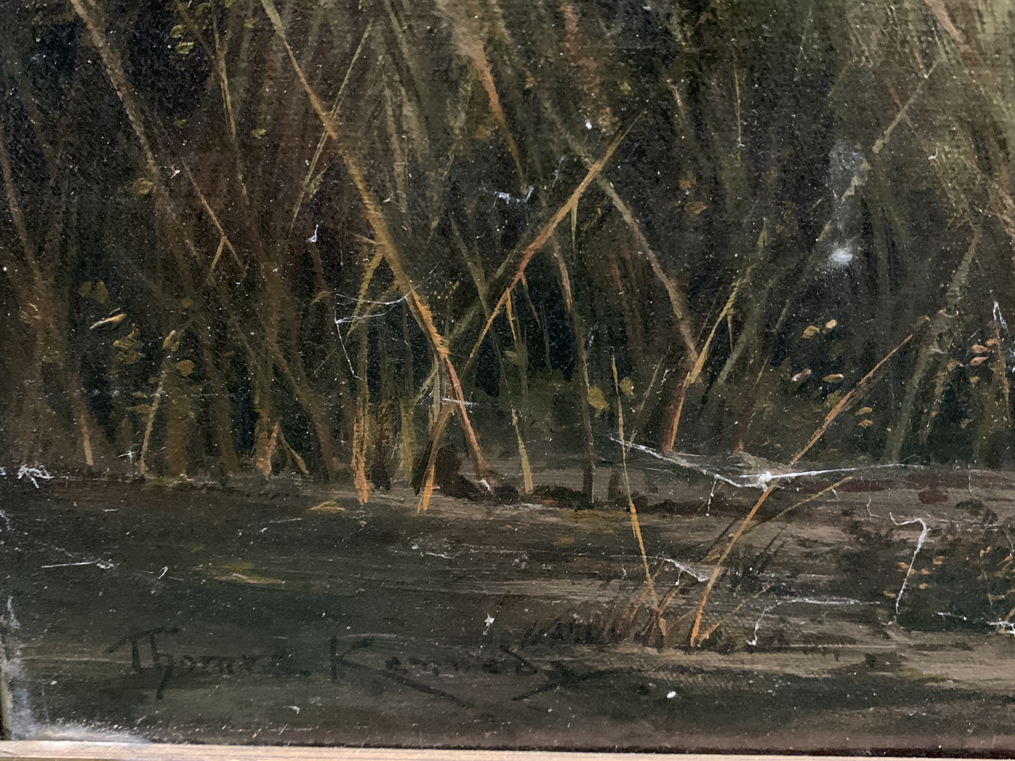 """Gilt framed oil on canvas of a river and landscape, written on reverse """"On the River Kennett"""" - Image 4 of 5"""