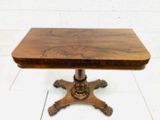 Burr mahogany swivel fold-over top games table
