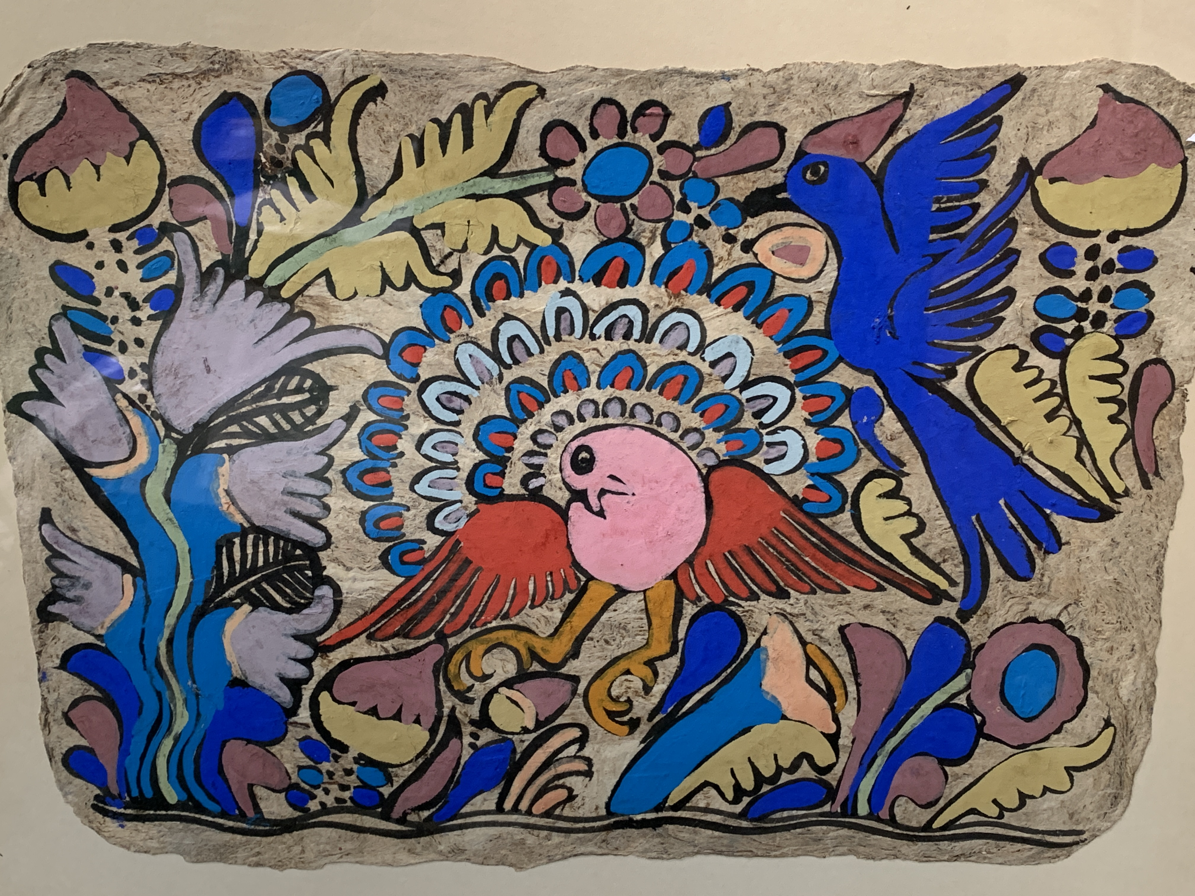 A pair of South American style acrylic on paper of birds and foliage - Image 3 of 4