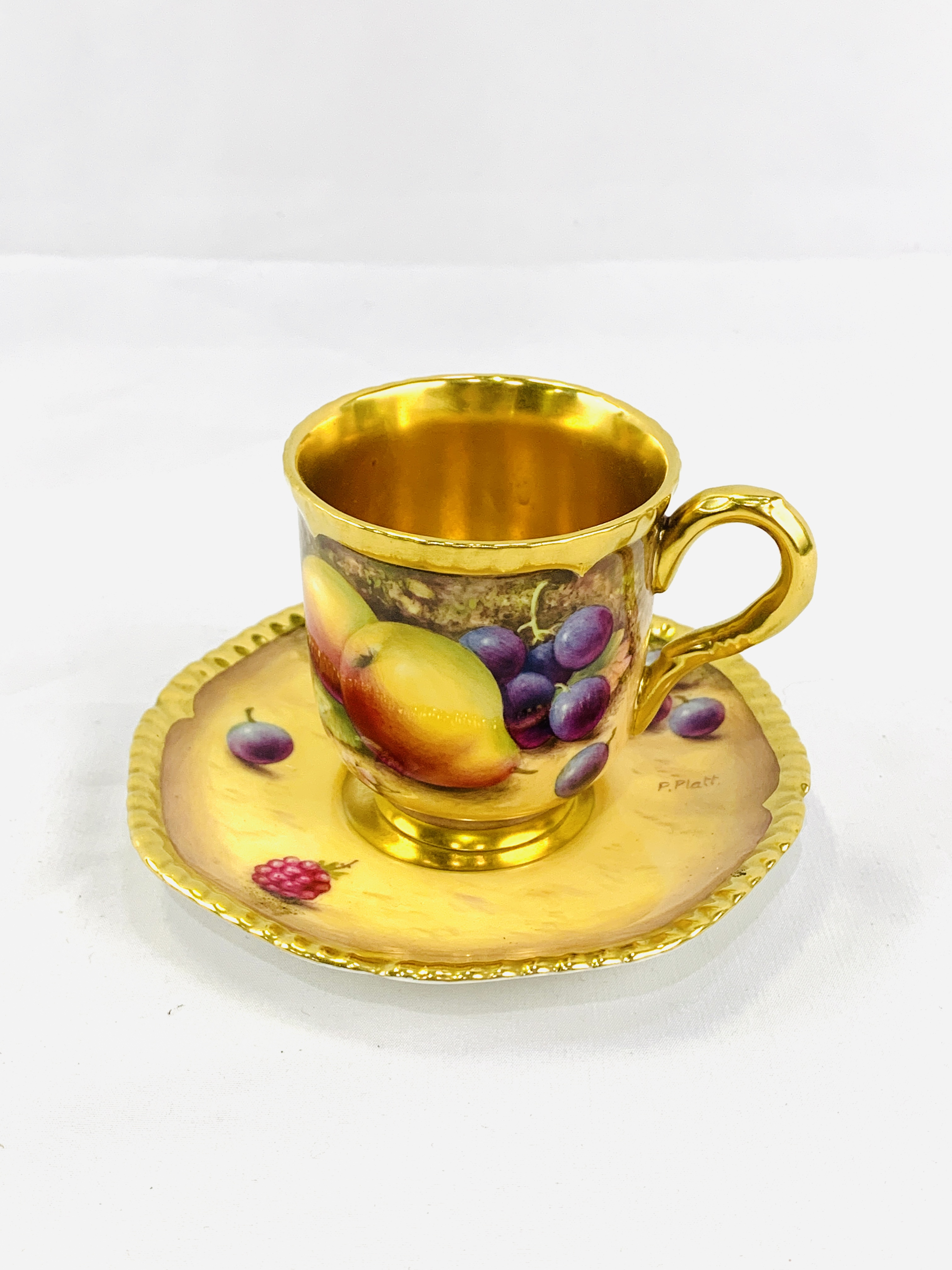 """Royal Worcester """"Fruit Study"""" coffee cup and saucer by P Platt - Image 2 of 6"""
