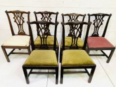 A set of six Georgian-style mahogany framed dining chairs