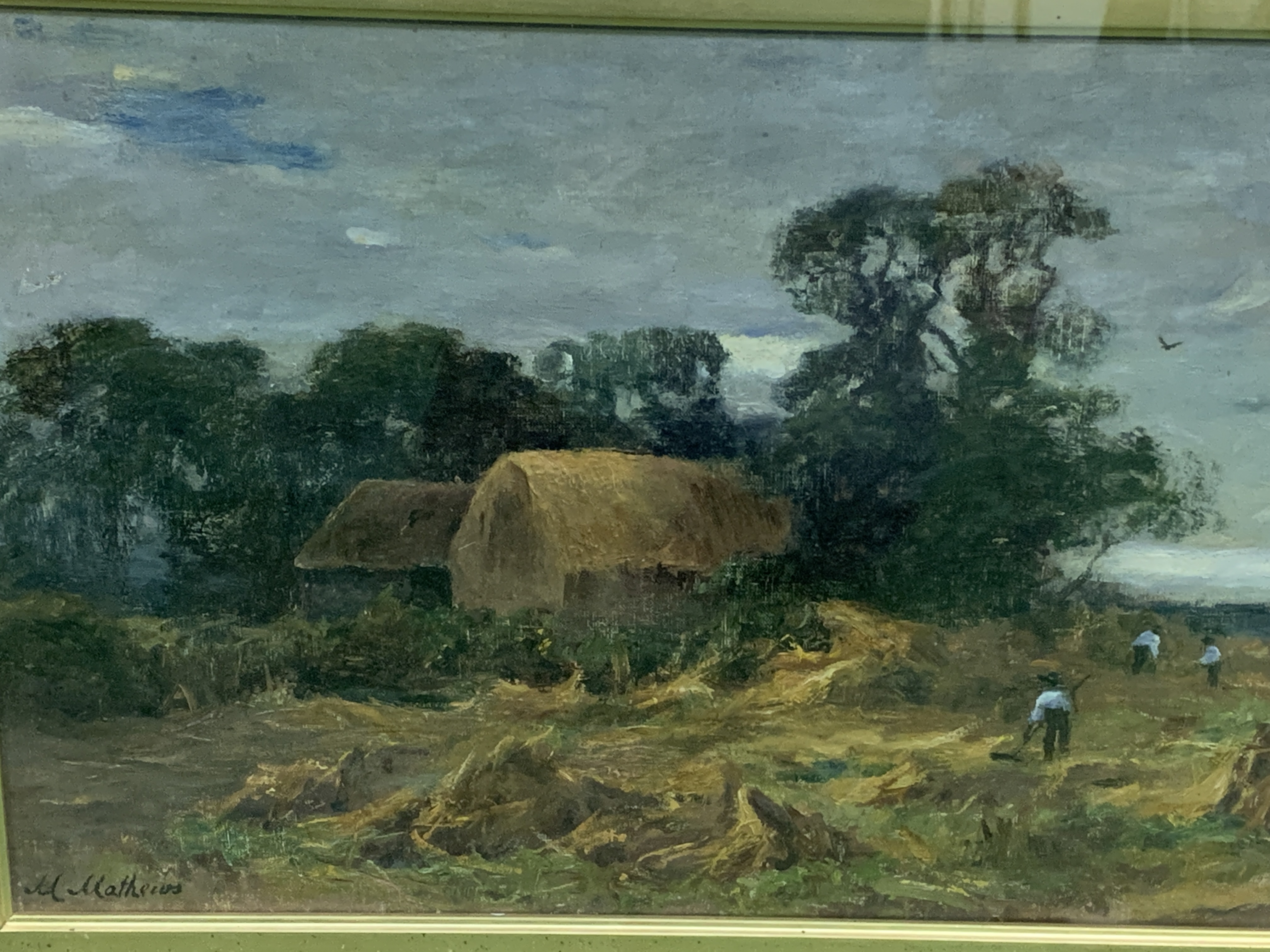 Gilt framed and glazed oil on canvas signed M Mathews