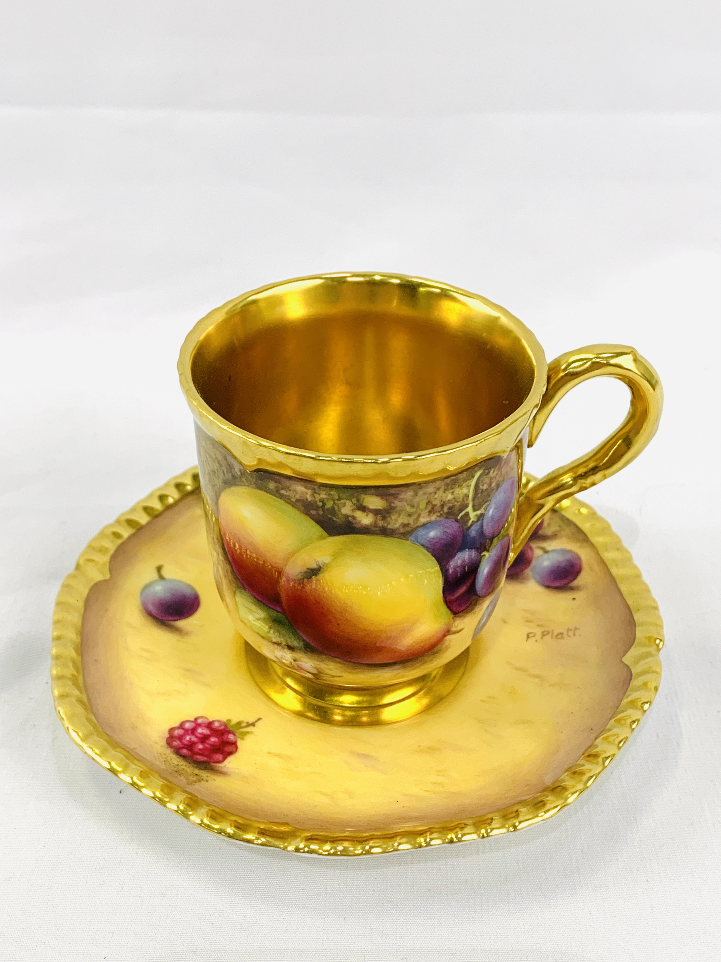 """Royal Worcester """"Fruit Study"""" coffee cup and saucer by P Platt"""
