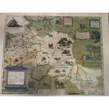 A framed and glazed hand-coloured map depicting a part of Russia