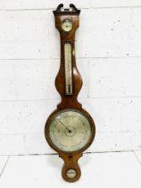 Early 19th century inlaid mahogany veneered wheel barometer by J Somalvico