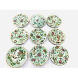 Nine famille verte Celadon glazed porcelain plates
