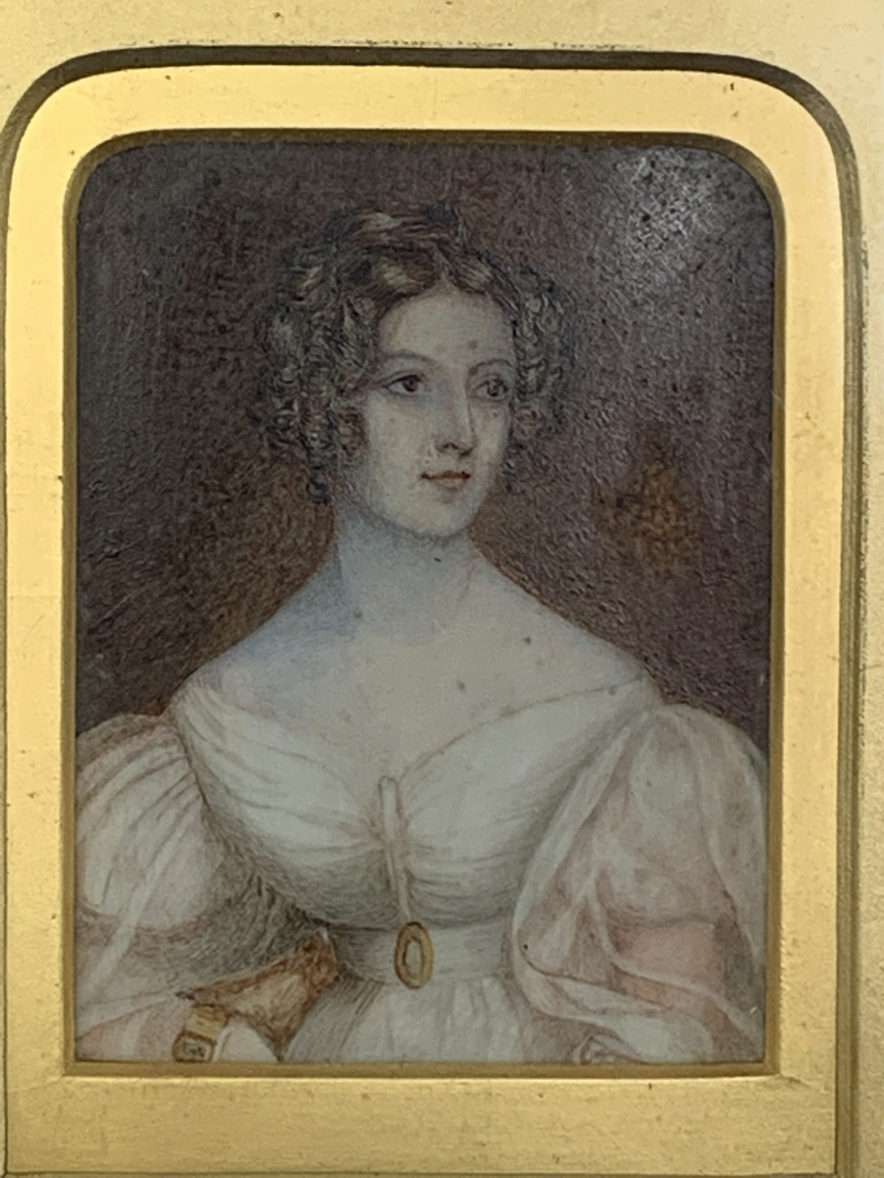 Gilt framed and glazed miniature oil portrait of a lady - Image 2 of 4
