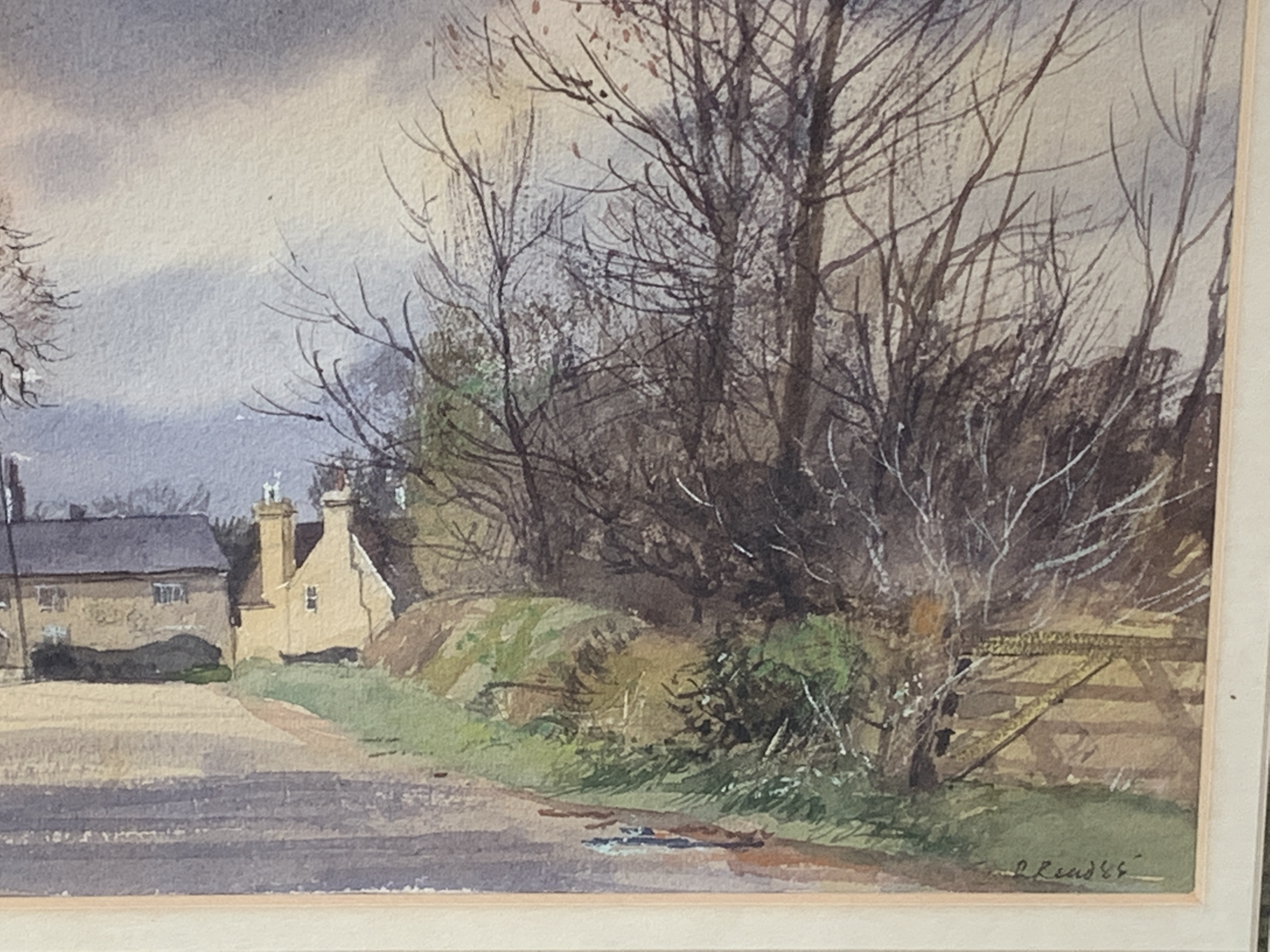 Framed and glazed watercolour, signed and dated R. Read '85