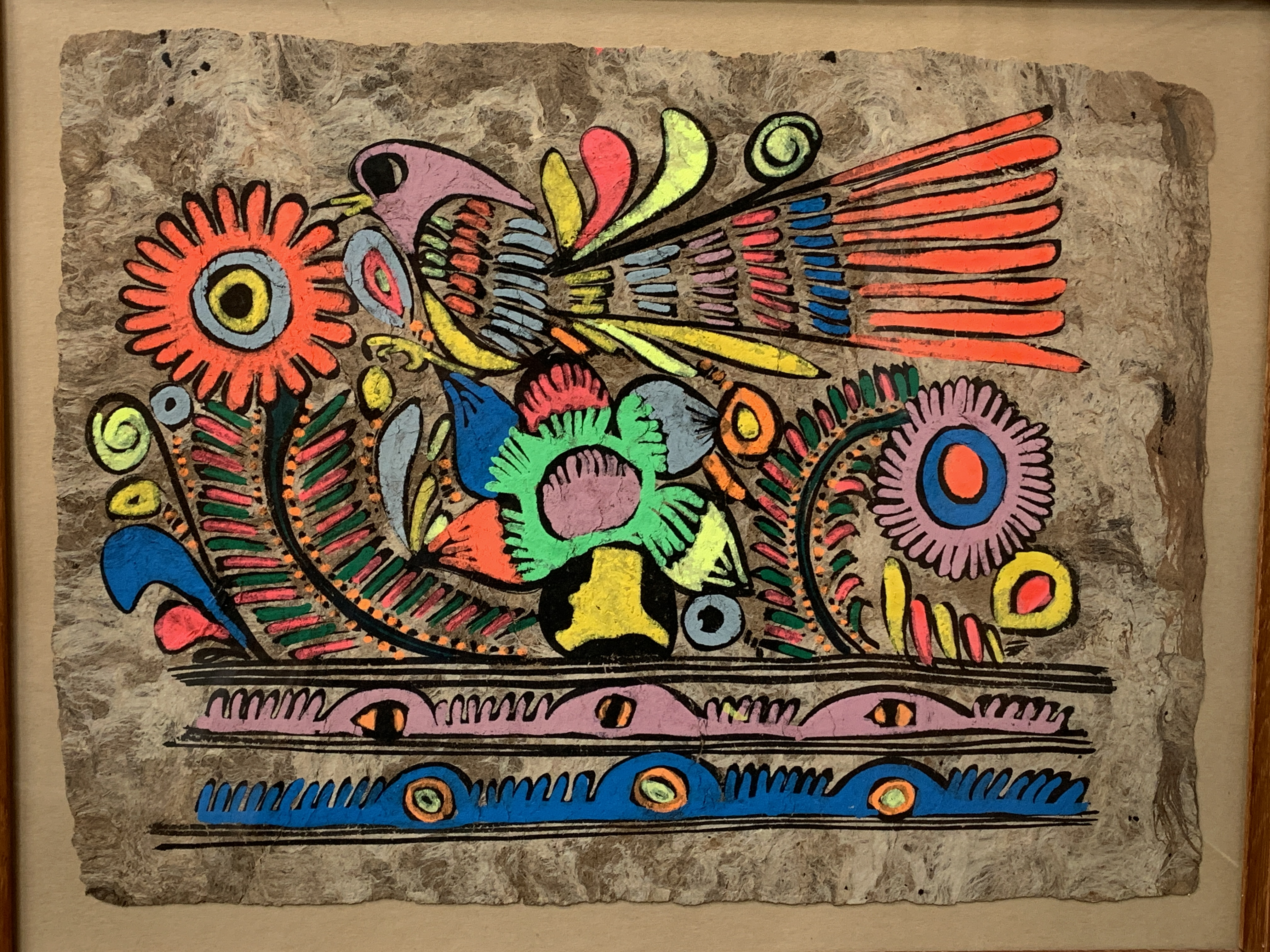 A pair of South American style acrylic on paper of birds and foliage - Image 2 of 4