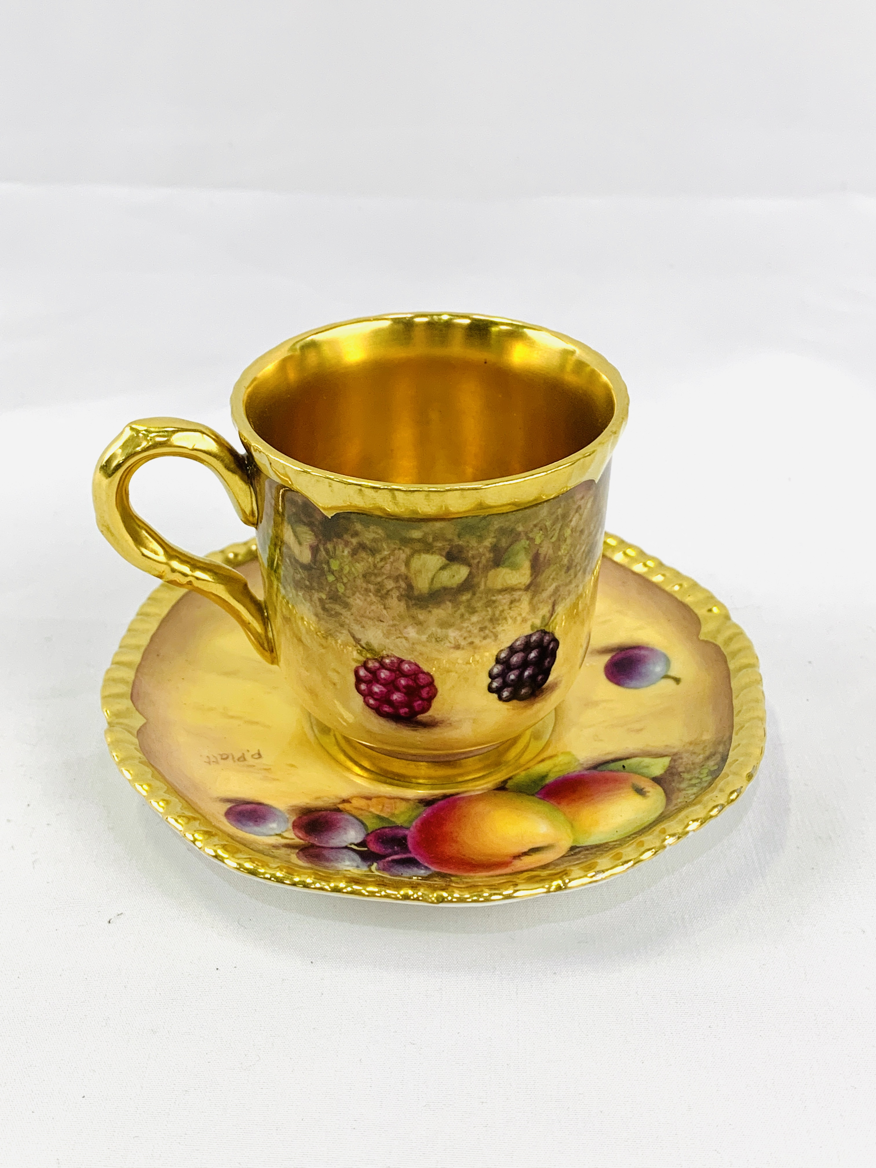 """Royal Worcester """"Fruit Study"""" coffee cup and saucer by P Platt - Image 3 of 6"""