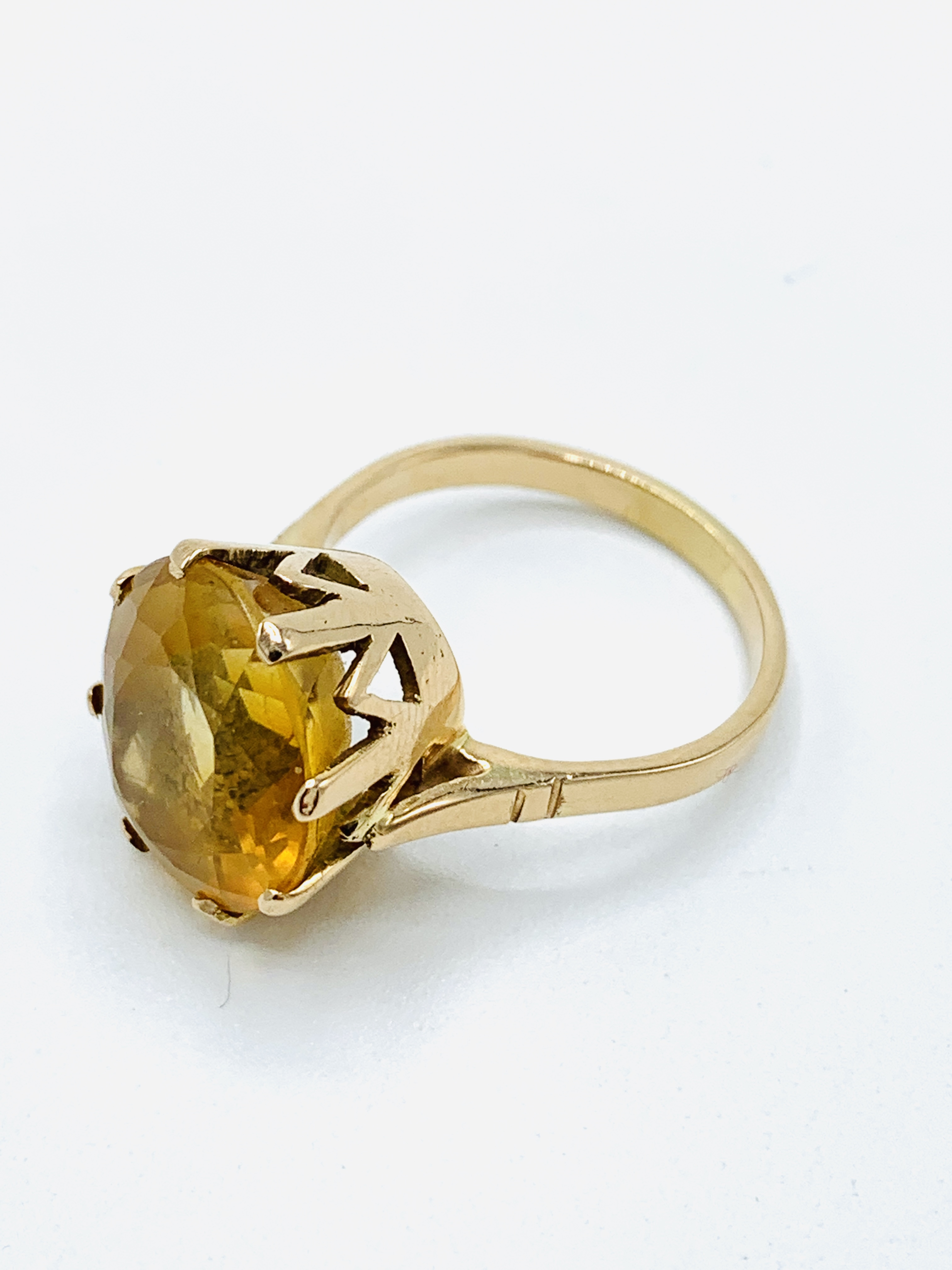 18ct gold and citrine ring and a yellow metal and yellow stone ring - Image 3 of 8
