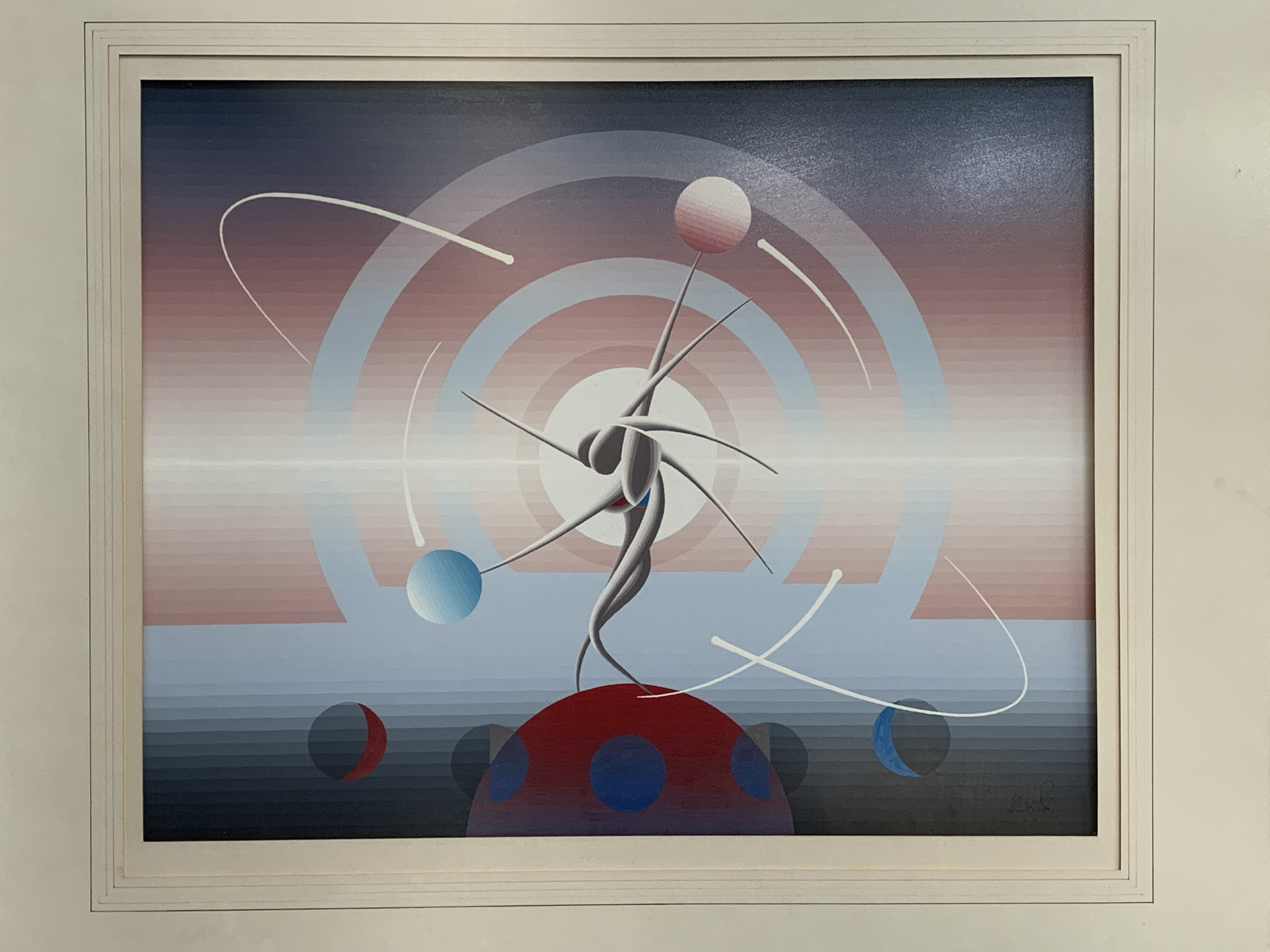 John Stafford framed and glazed gouache on paper 'Mystic Time Piece'