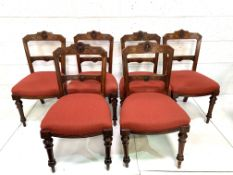 Group of six mahogany framed dining chairs