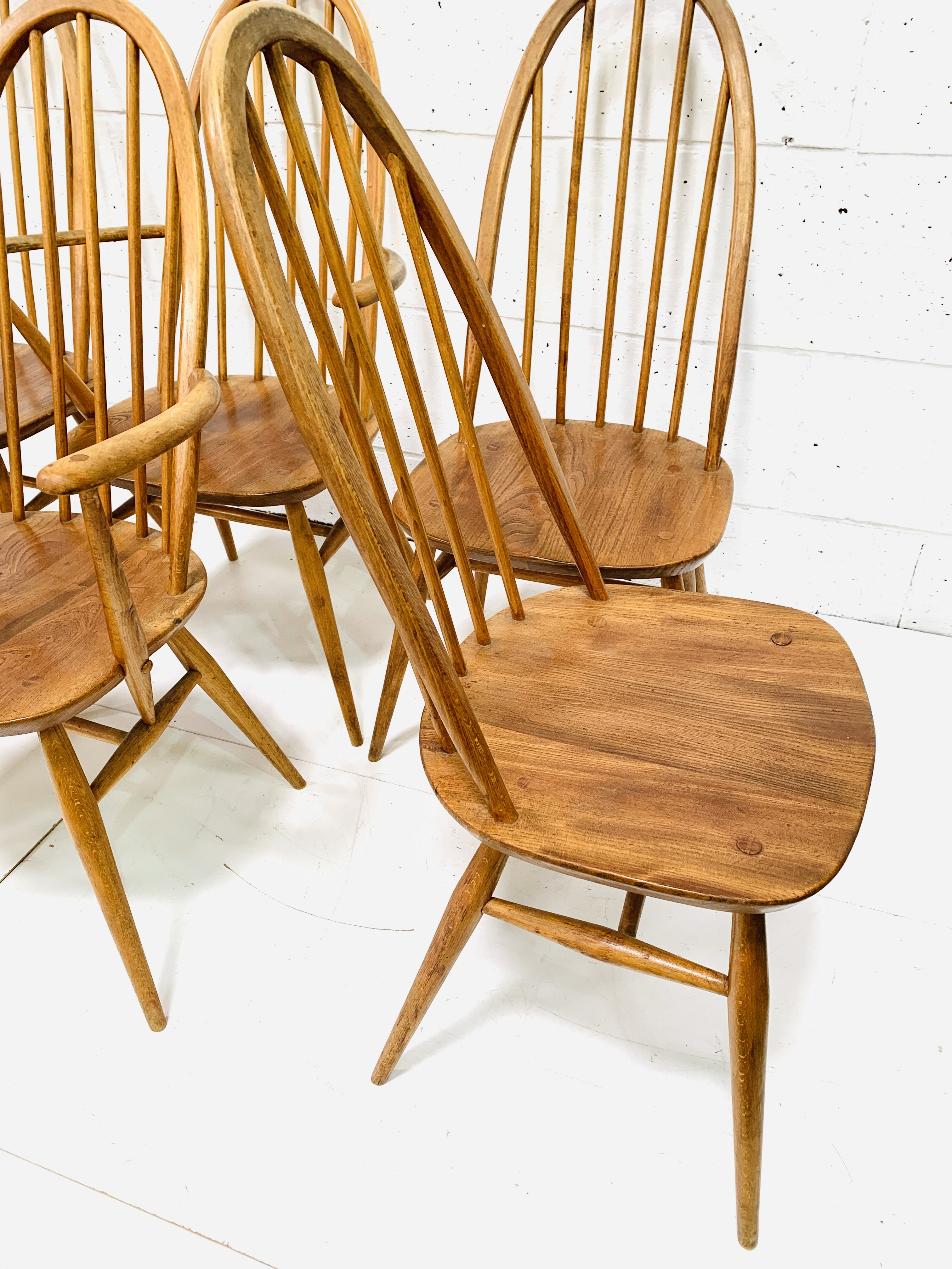 Set of six (4 + 2) Ercol high rail back dining chairs - Image 4 of 5