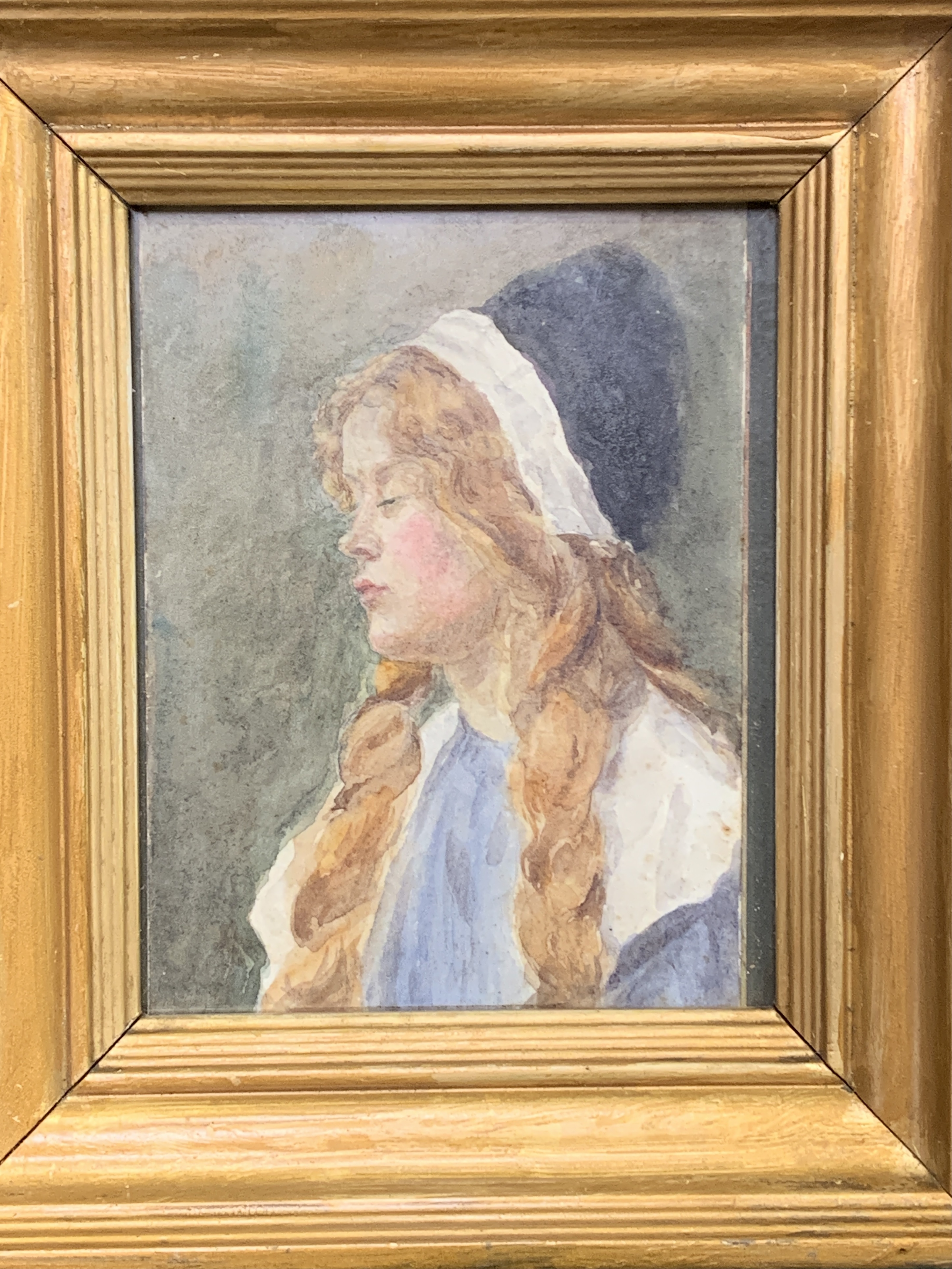 A small gilt framed watercolour of a girl - Image 4 of 4