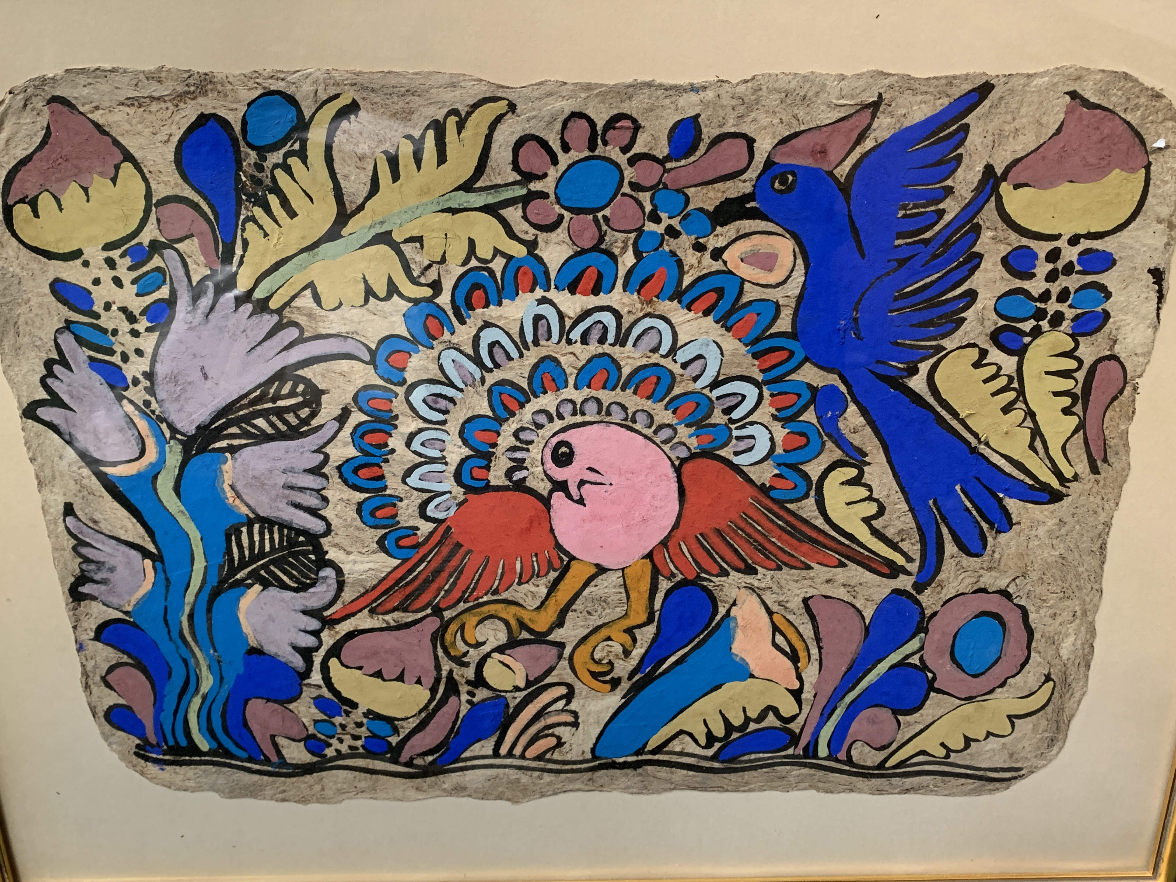 A pair of South American style acrylic on paper of birds and foliage - Image 4 of 4