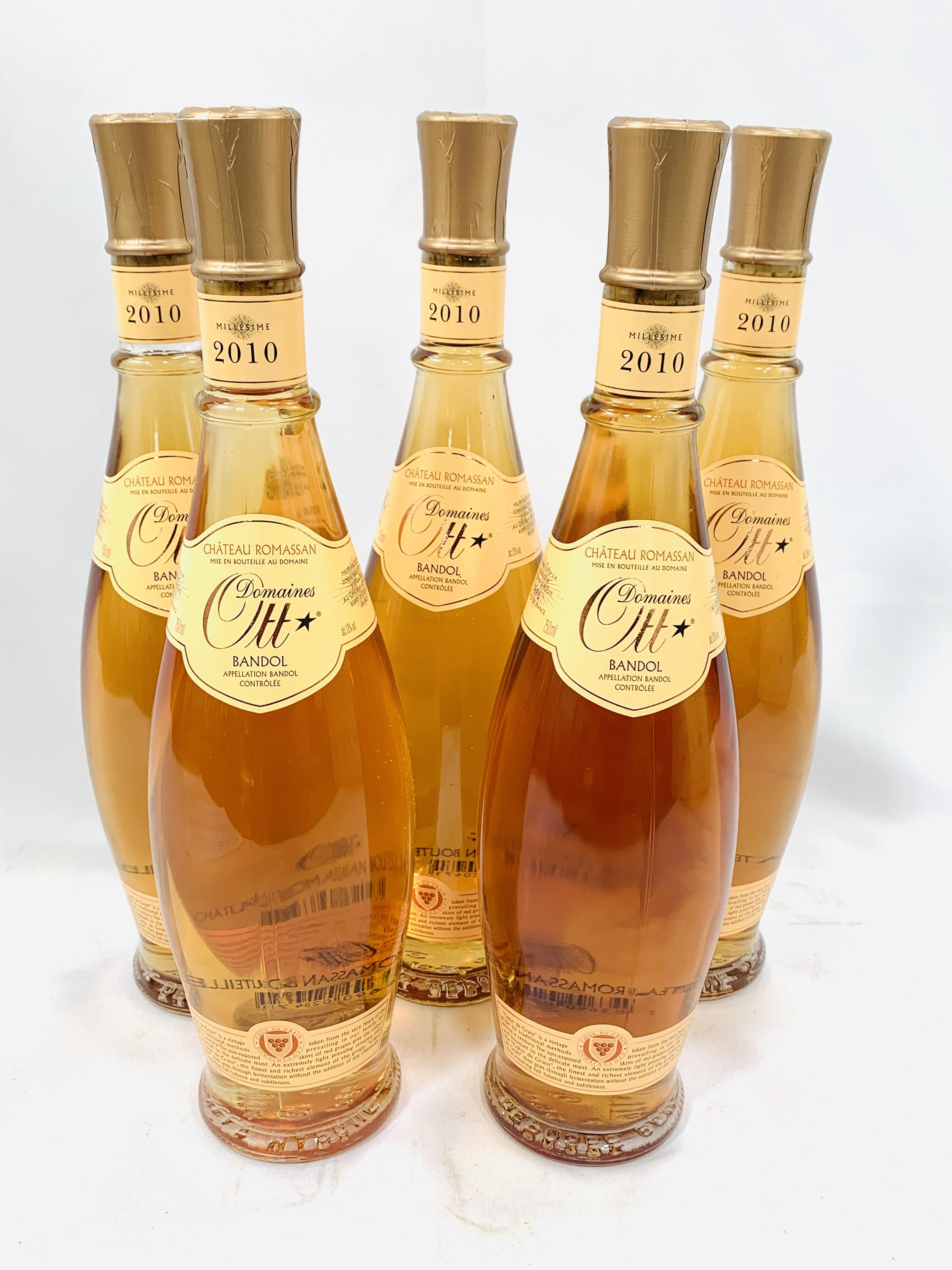 Five 75cl bottles 2010 Domaines Ott Château Romassan Bandol rosé