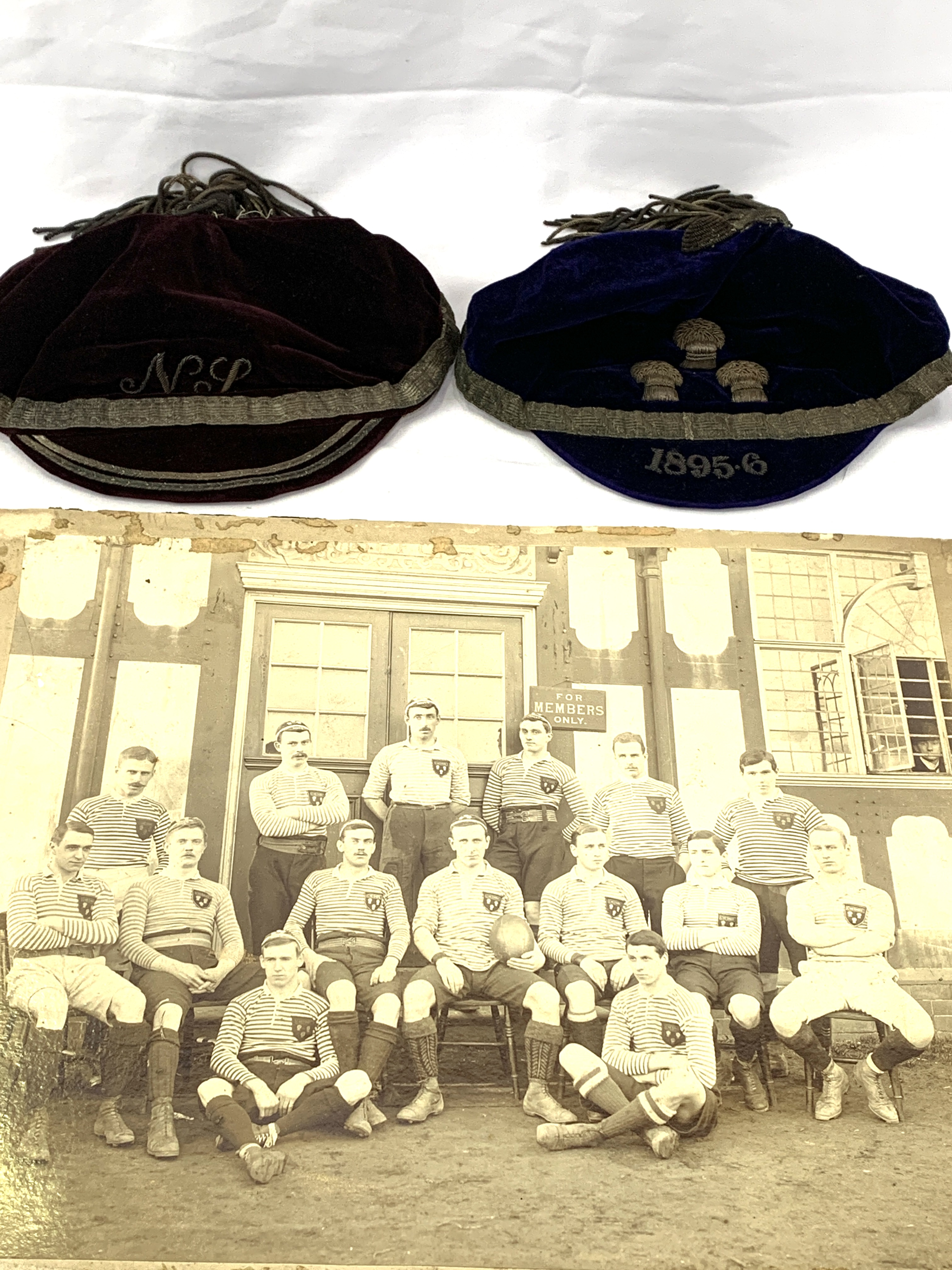 Black and white photograph of a Cheshire Rugby team circa 1895, a shirt badge and 2 velvet caps - Image 5 of 6