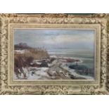 Oil on canvas of a coastal scene in winter in heavy decorative frame signed D. Schulman