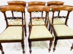 Six mid-19th century mahogany dining chairs