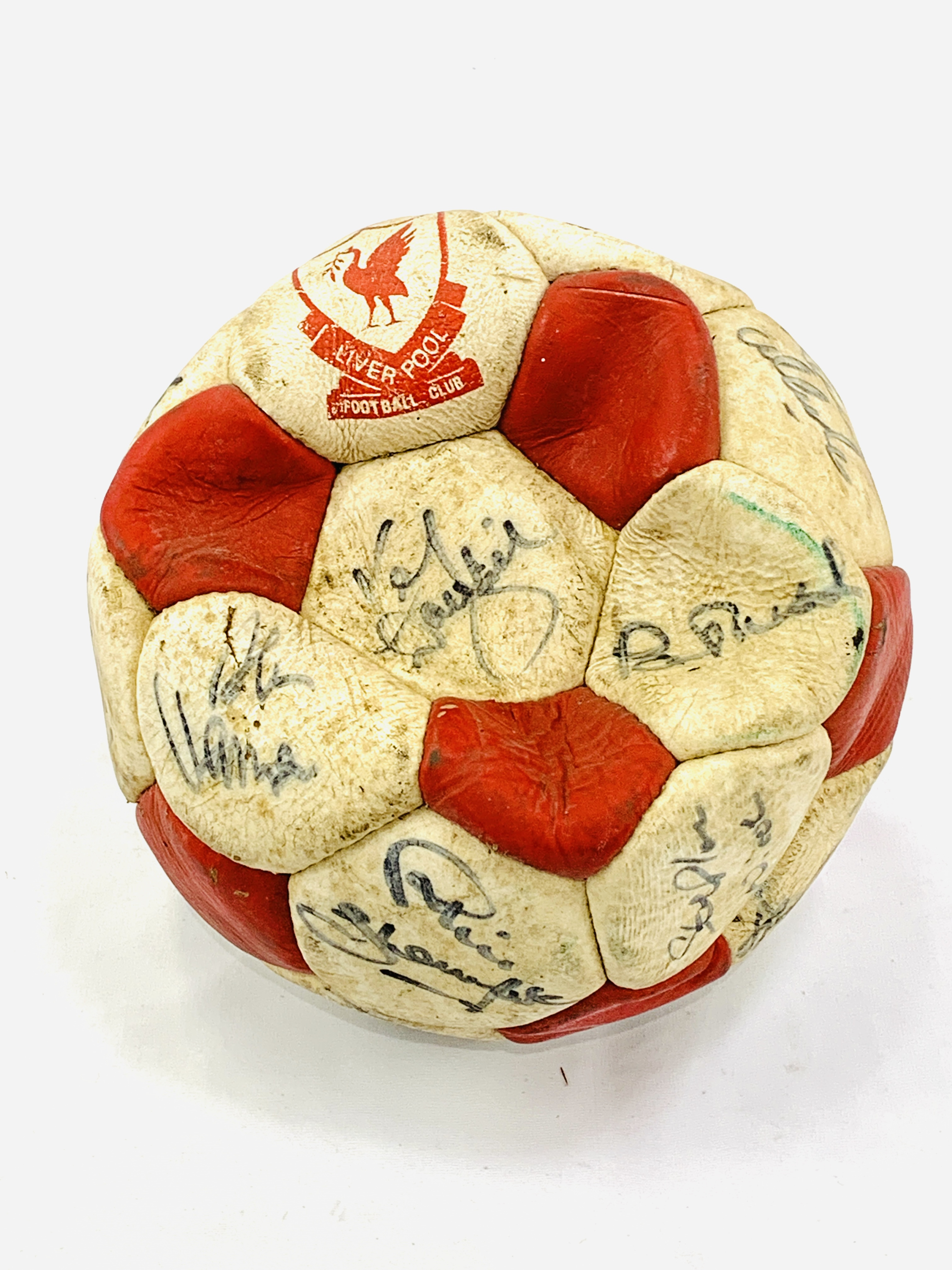 Signed Liverpool FC football, with original signatures