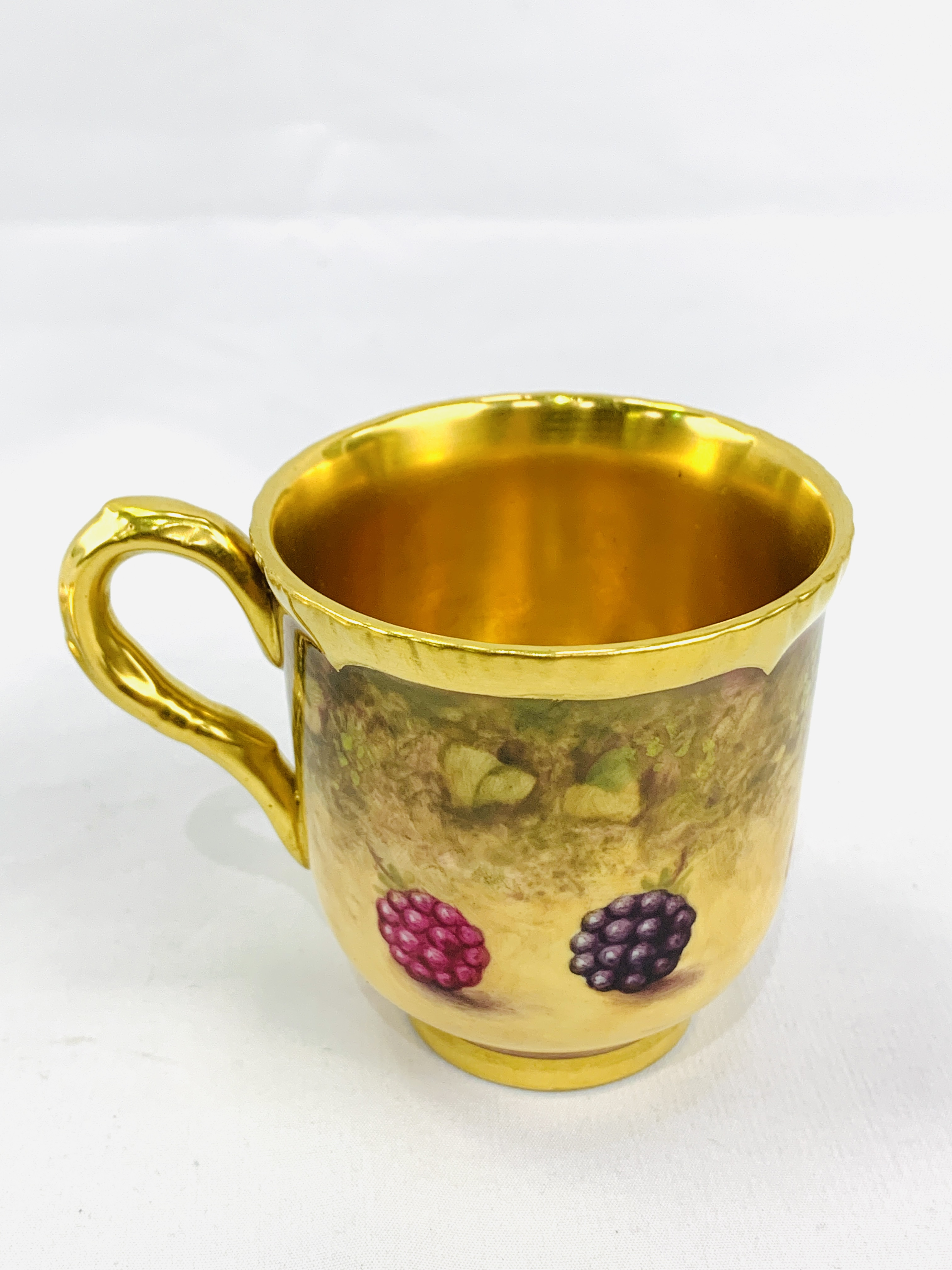 """Royal Worcester """"Fruit Study"""" coffee cup and saucer by P Platt - Image 5 of 6"""