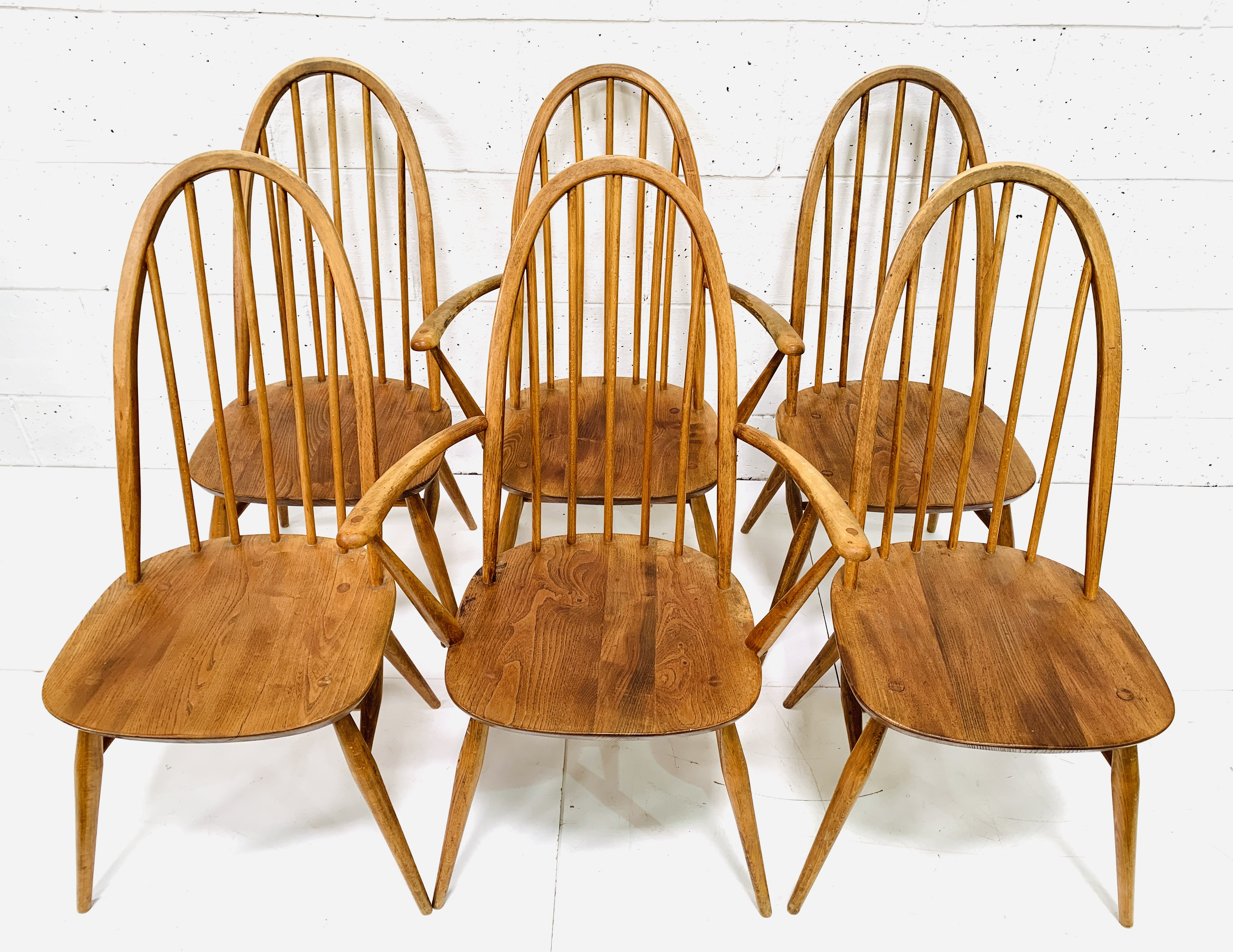 Set of six (4 + 2) Ercol high rail back dining chairs