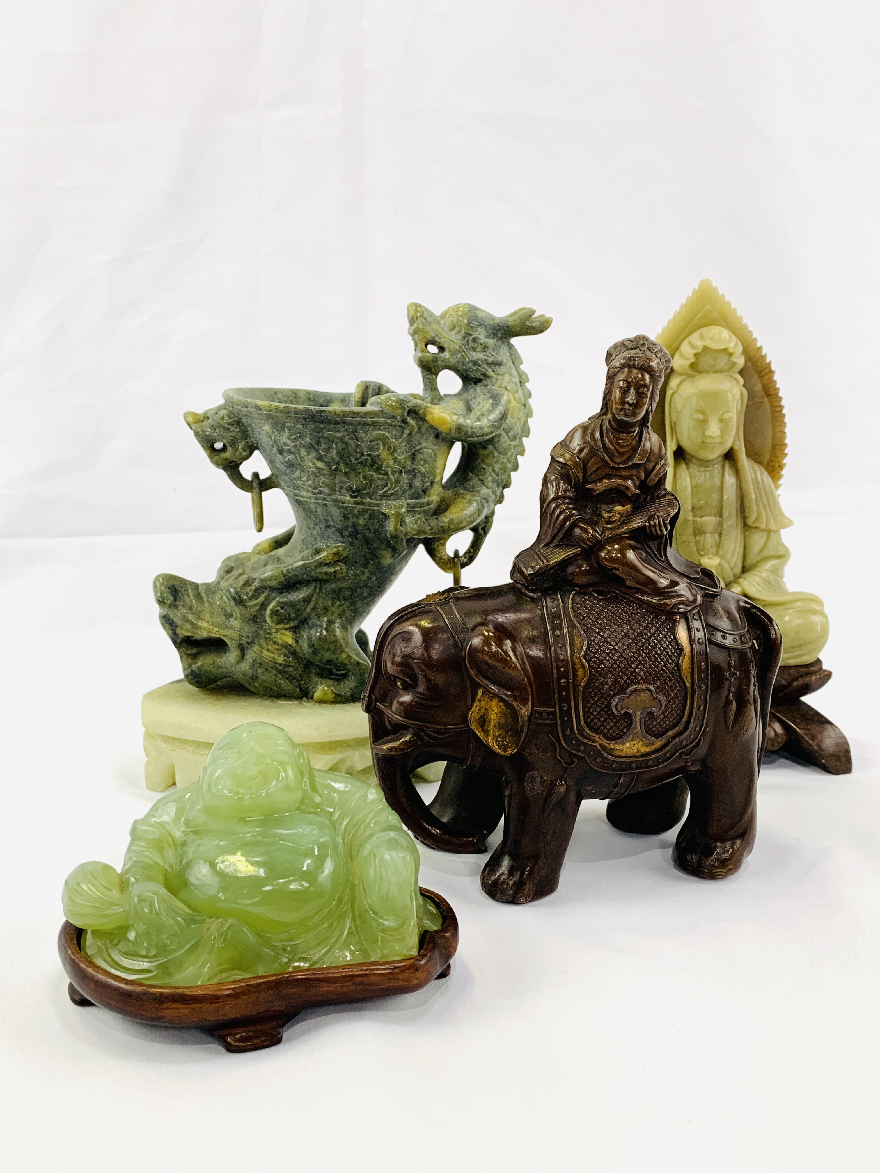 Four pieces of Oriental carved stone - Image 3 of 6