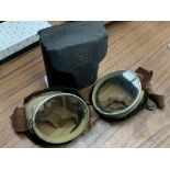 1920s/1930s STG Aero Motor Goggles with Triplex Safety Glass, in original black carry case