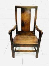 18th century oak open armchair