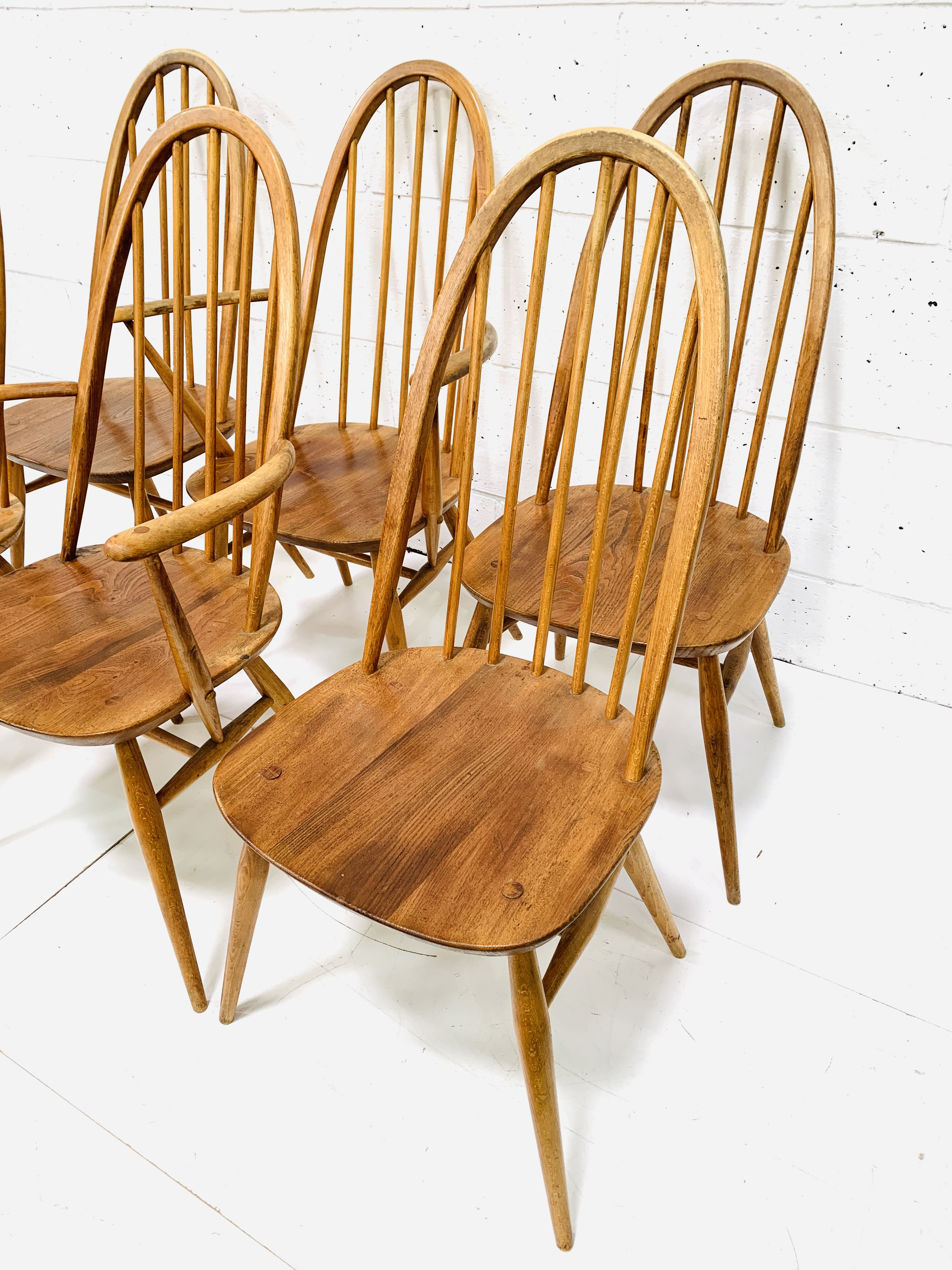 Set of six (4 + 2) Ercol high rail back dining chairs - Image 3 of 5