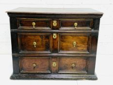 Early 18th Century oak chest of three drawers