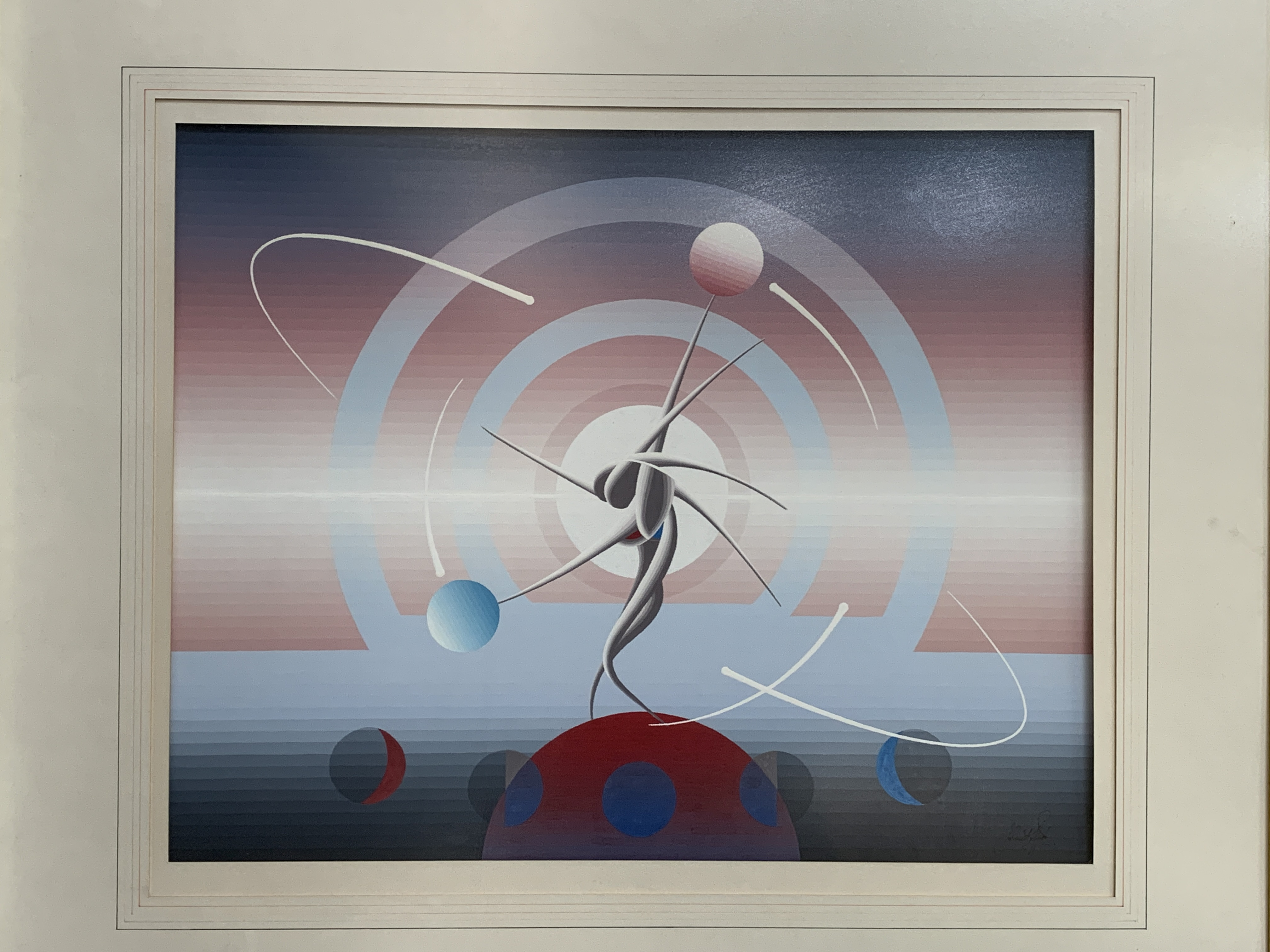 John Stafford framed and glazed gouache on paper 'Mystic Time Piece' - Image 2 of 2