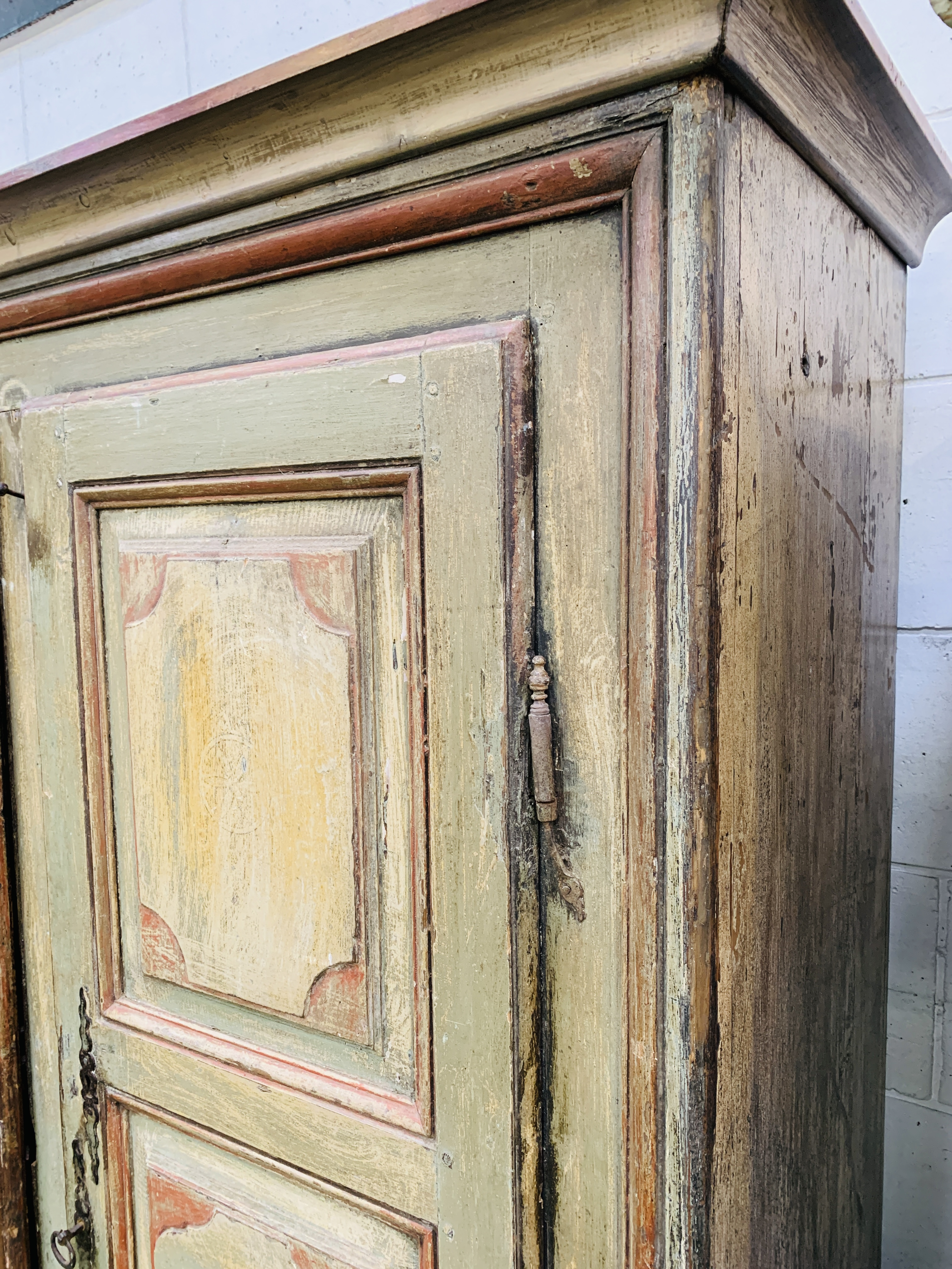 Mid-19th century French painted pine wardrobe - Image 6 of 8