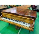 Mahogany cased small grand piano by Hagspiel & Company