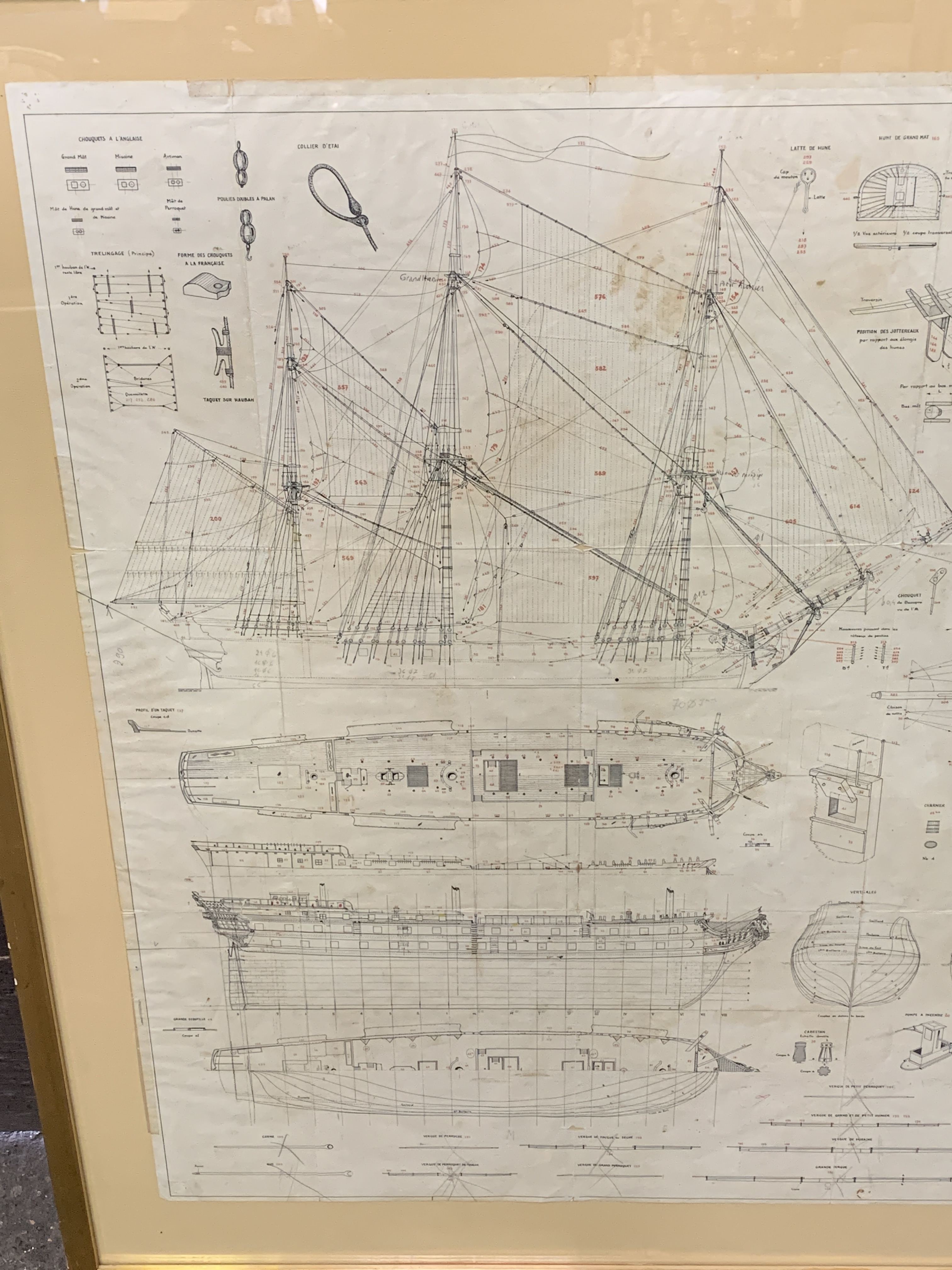 A Musee de La Marie, 1/150 scale plan of the 74 gun warship Le Superbe - Image 2 of 5