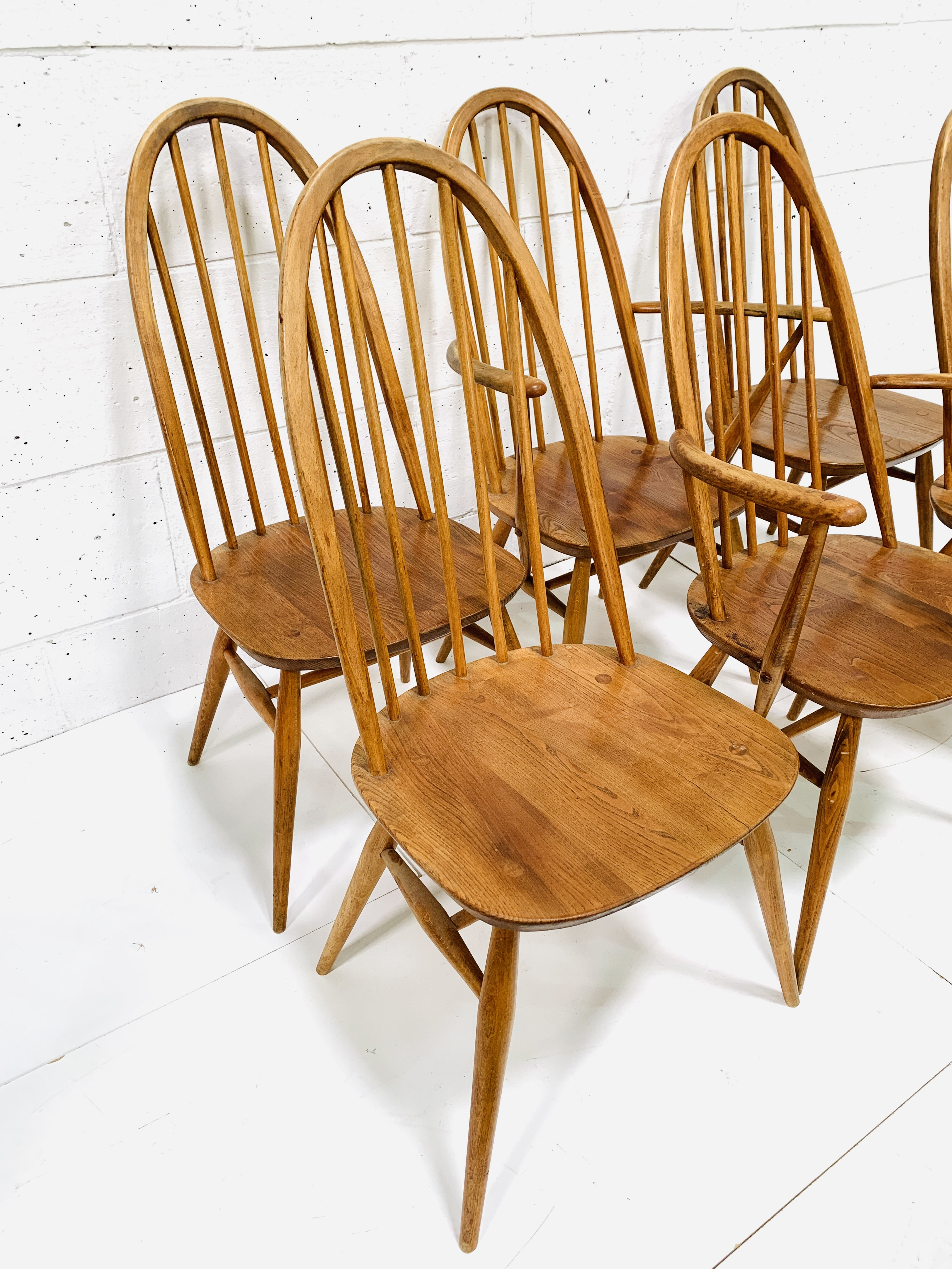 Set of six (4 + 2) Ercol high rail back dining chairs - Image 2 of 5