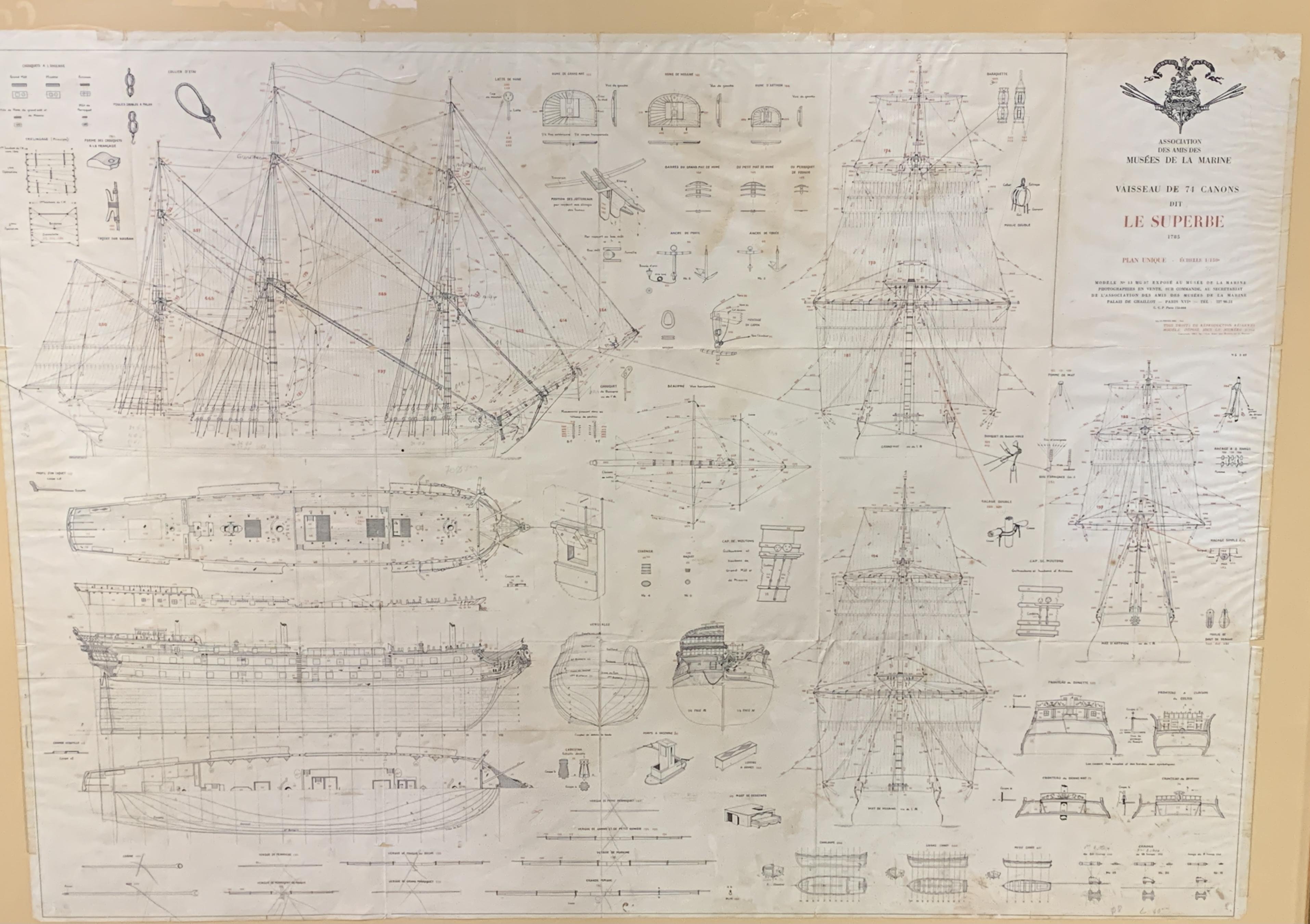 A Musee de La Marie, 1/150 scale plan of the 74 gun warship Le Superbe