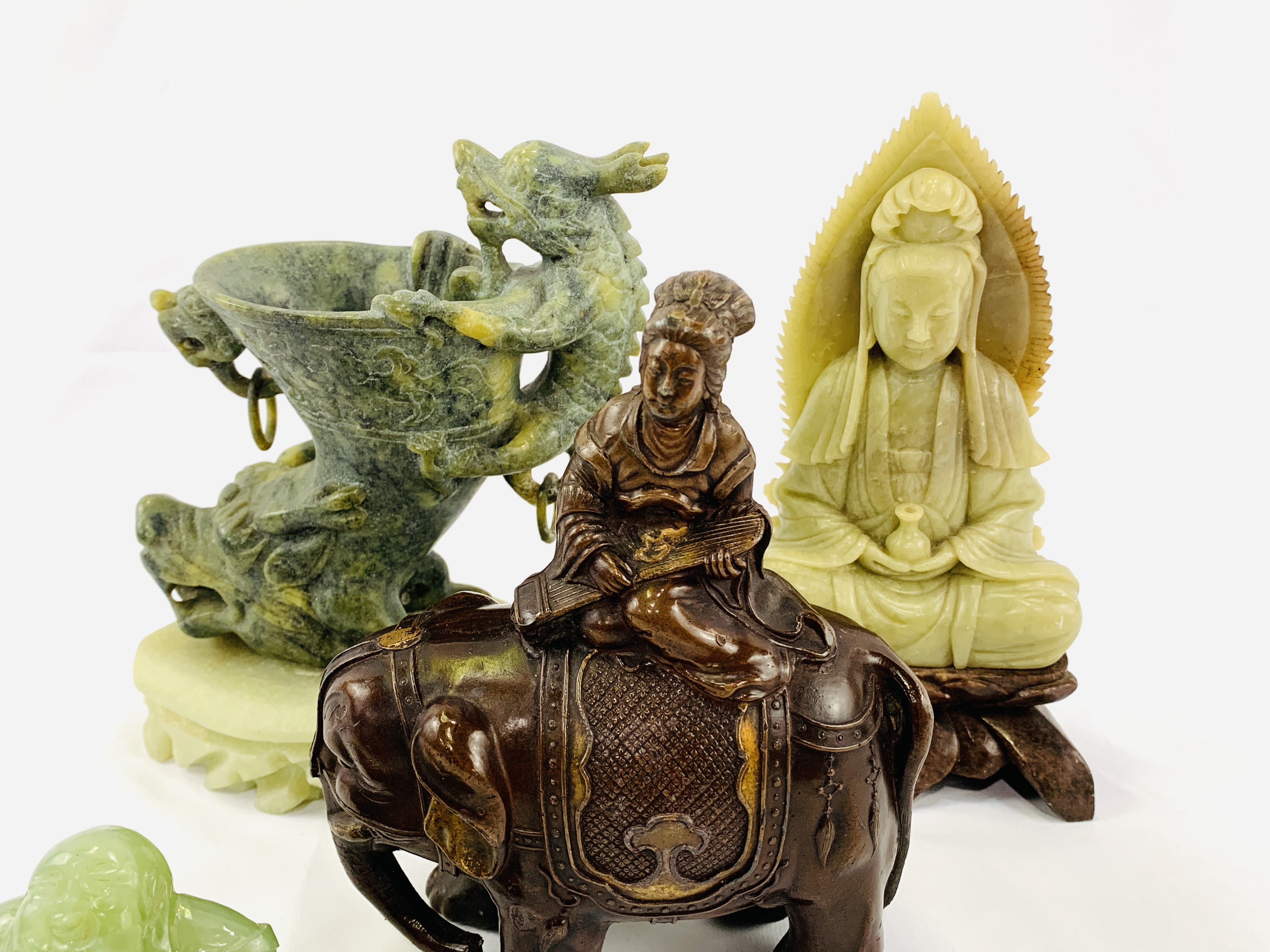 Four pieces of Oriental carved stone - Image 5 of 6