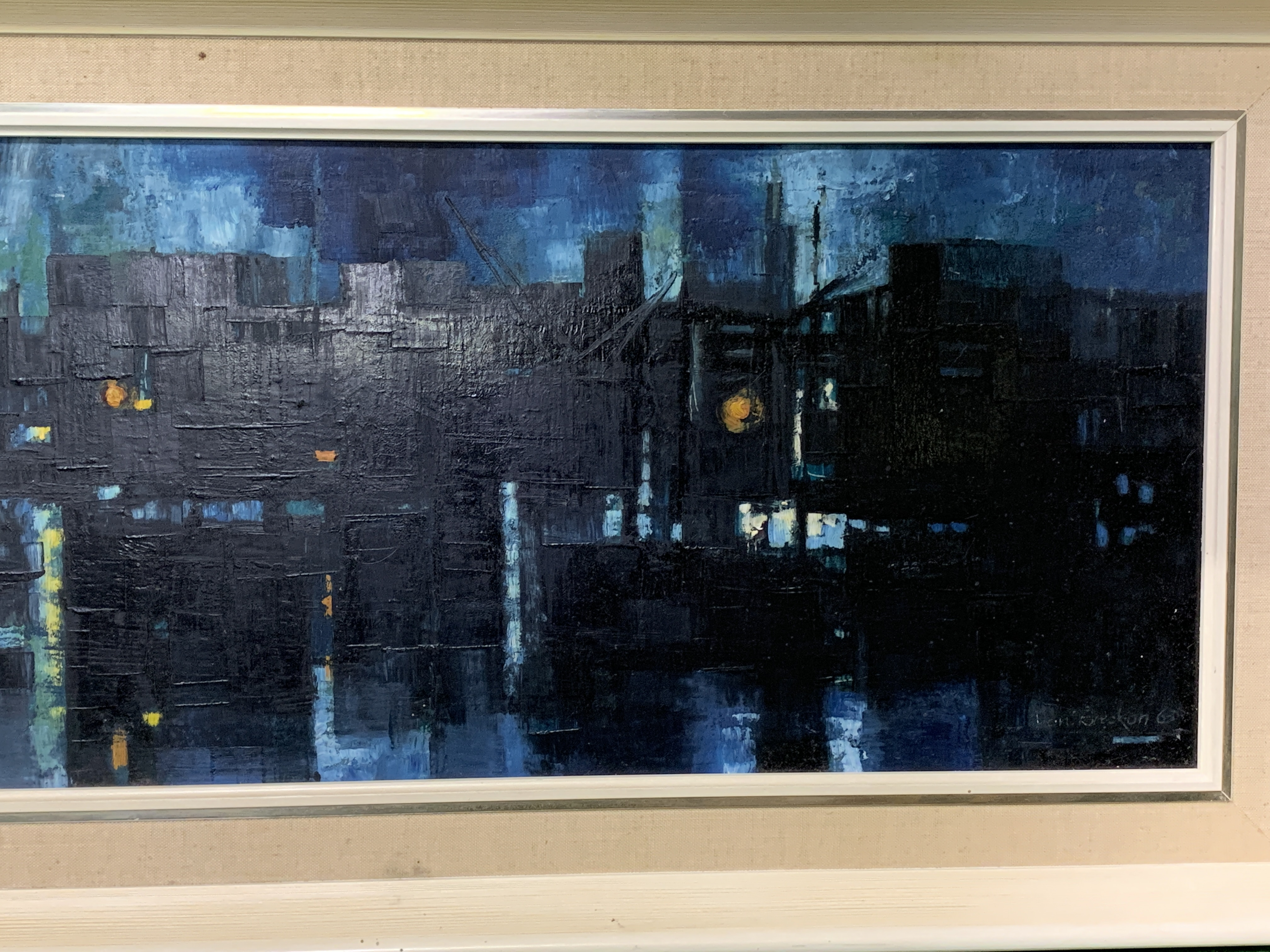 A framed oil on board of docks at night - Image 2 of 4