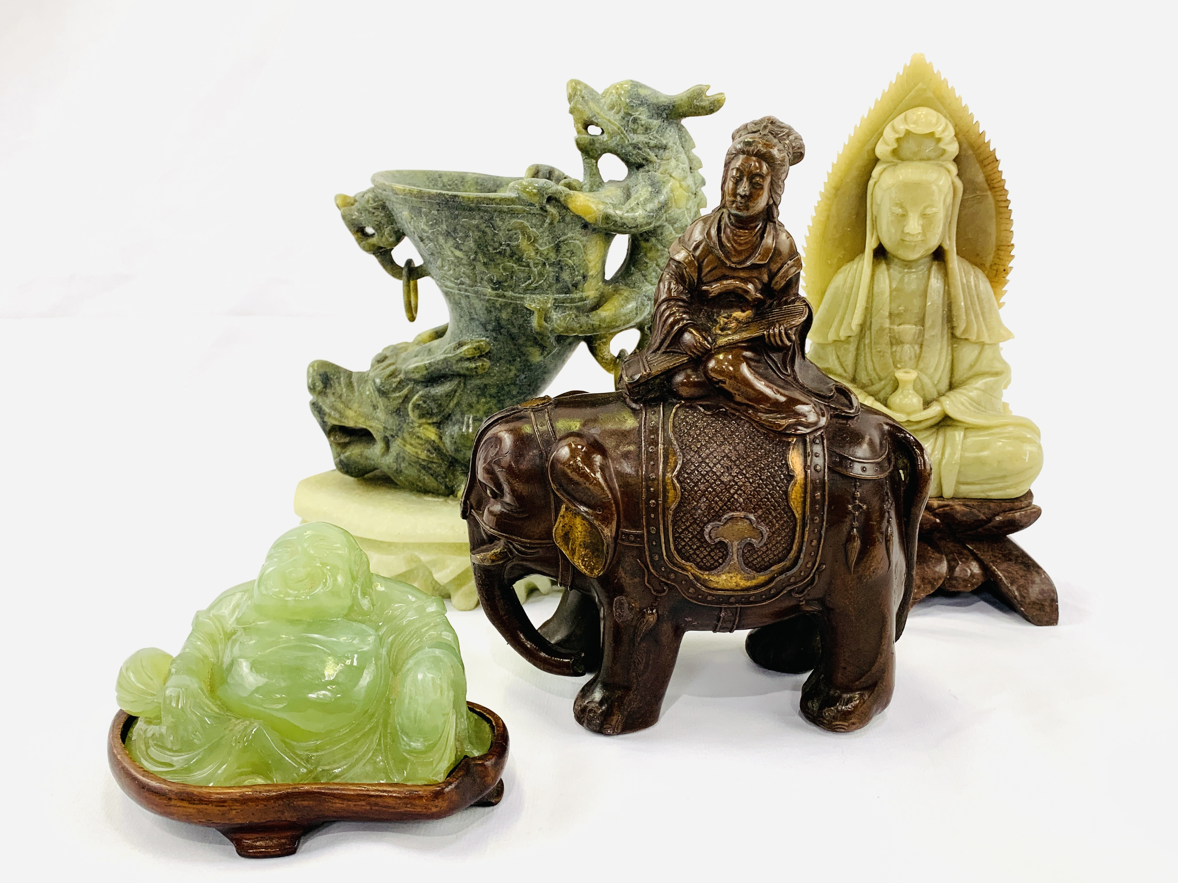 Four pieces of Oriental carved stone - Image 4 of 6