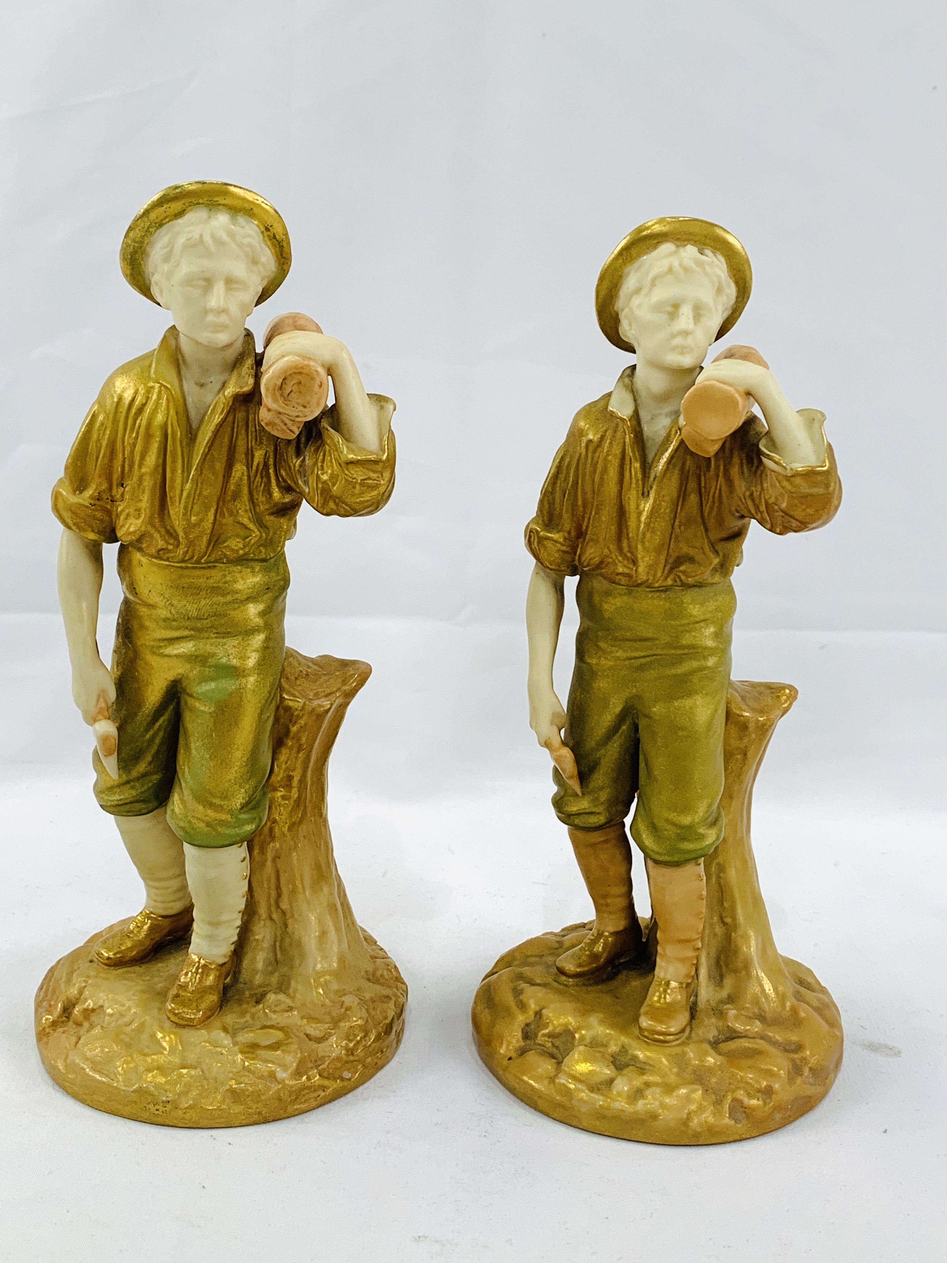 """Two 19th Century Royal Worcester figurines """"The Woodman"""""""