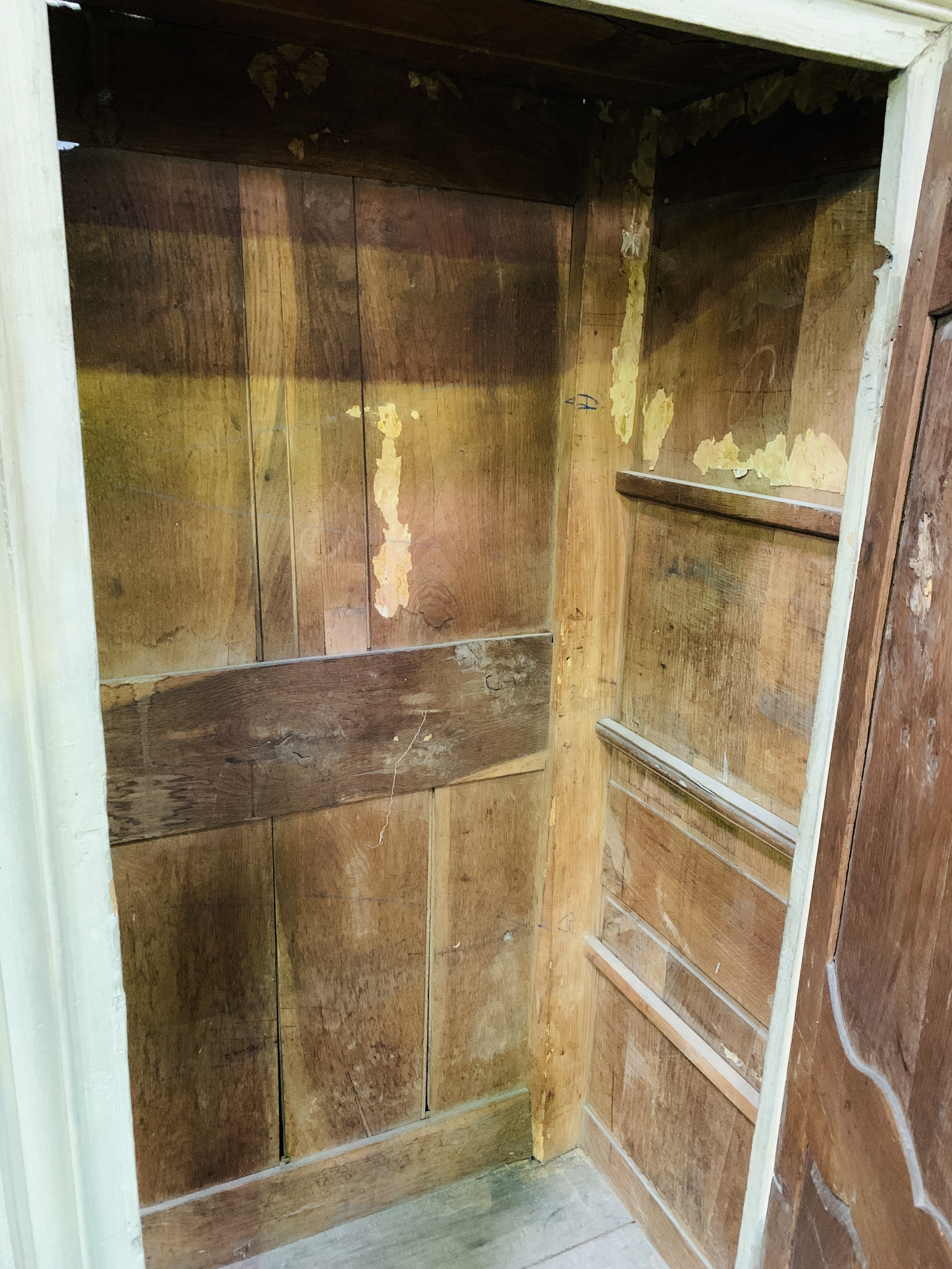 Mid-9th century French painted pine cupboard - Image 4 of 5