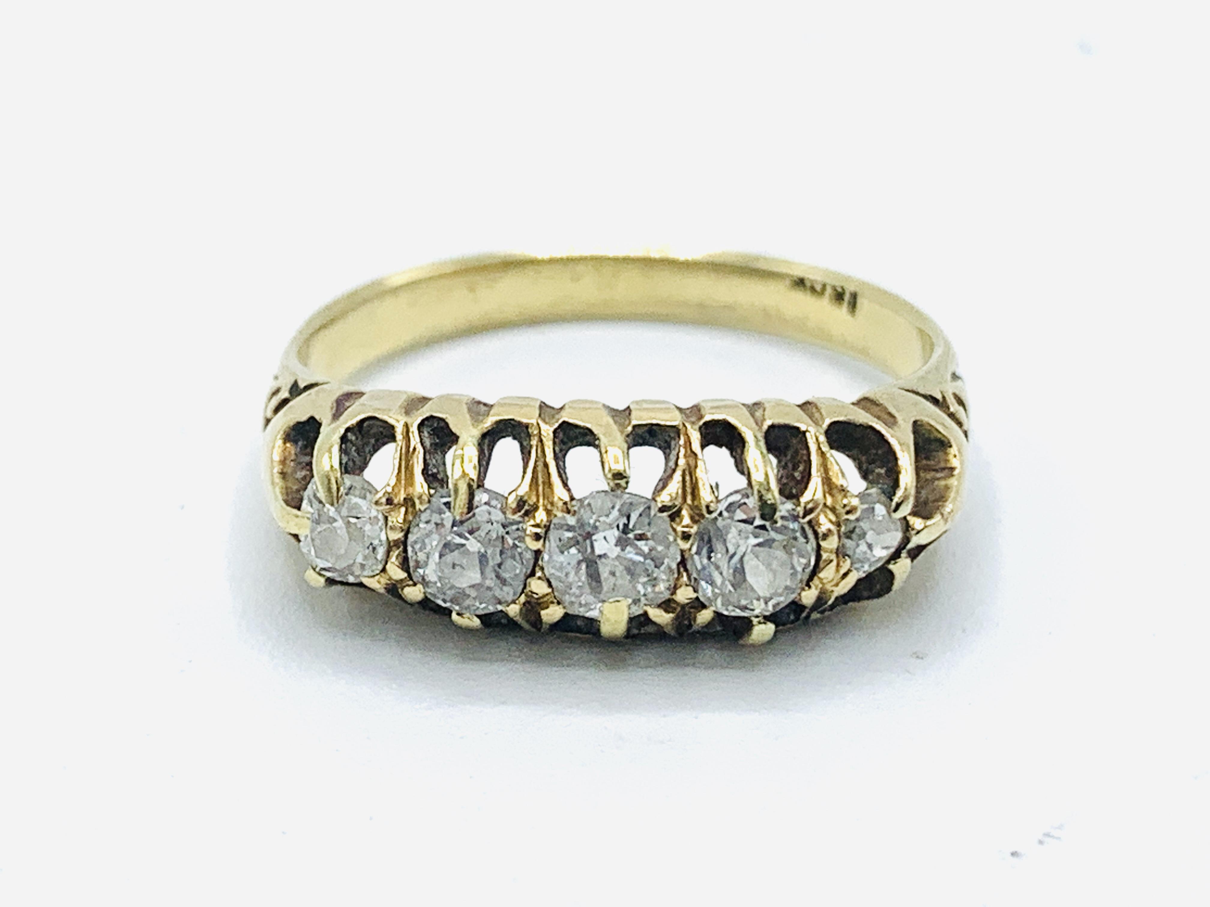 18ct gold 5 diamond ring
