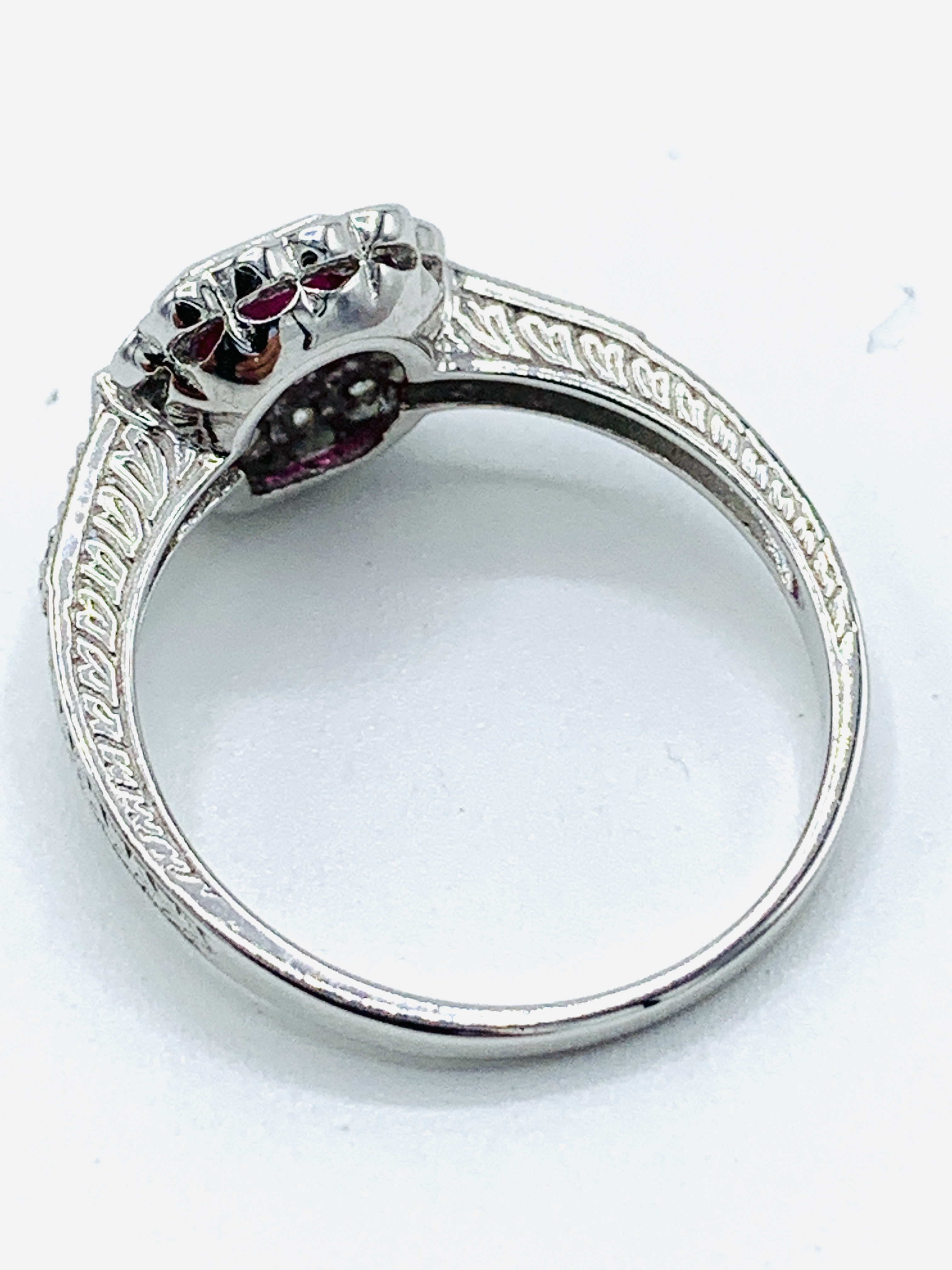18ct white gold ruby and diamond ring - Image 3 of 3